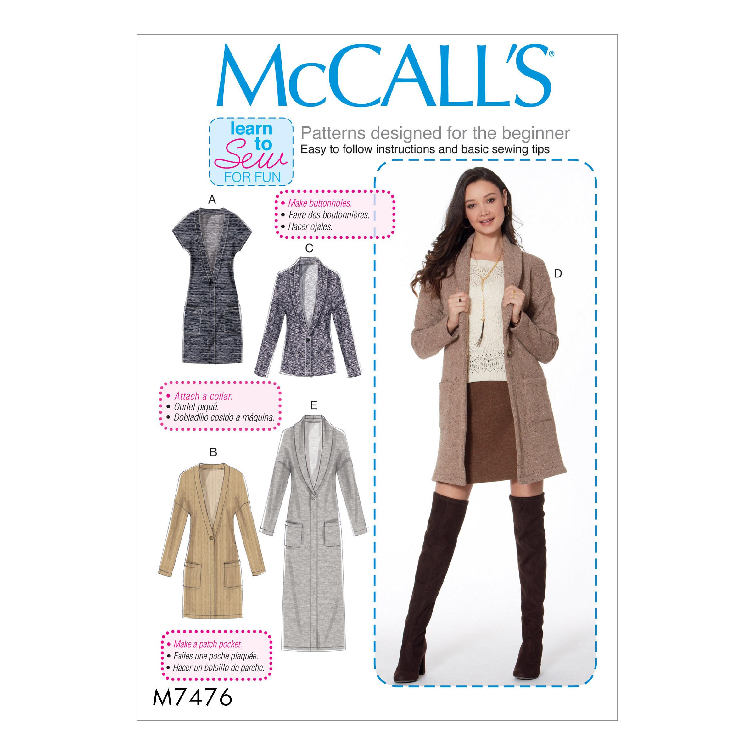 McCalls M7476 Misses Jackets & Vests