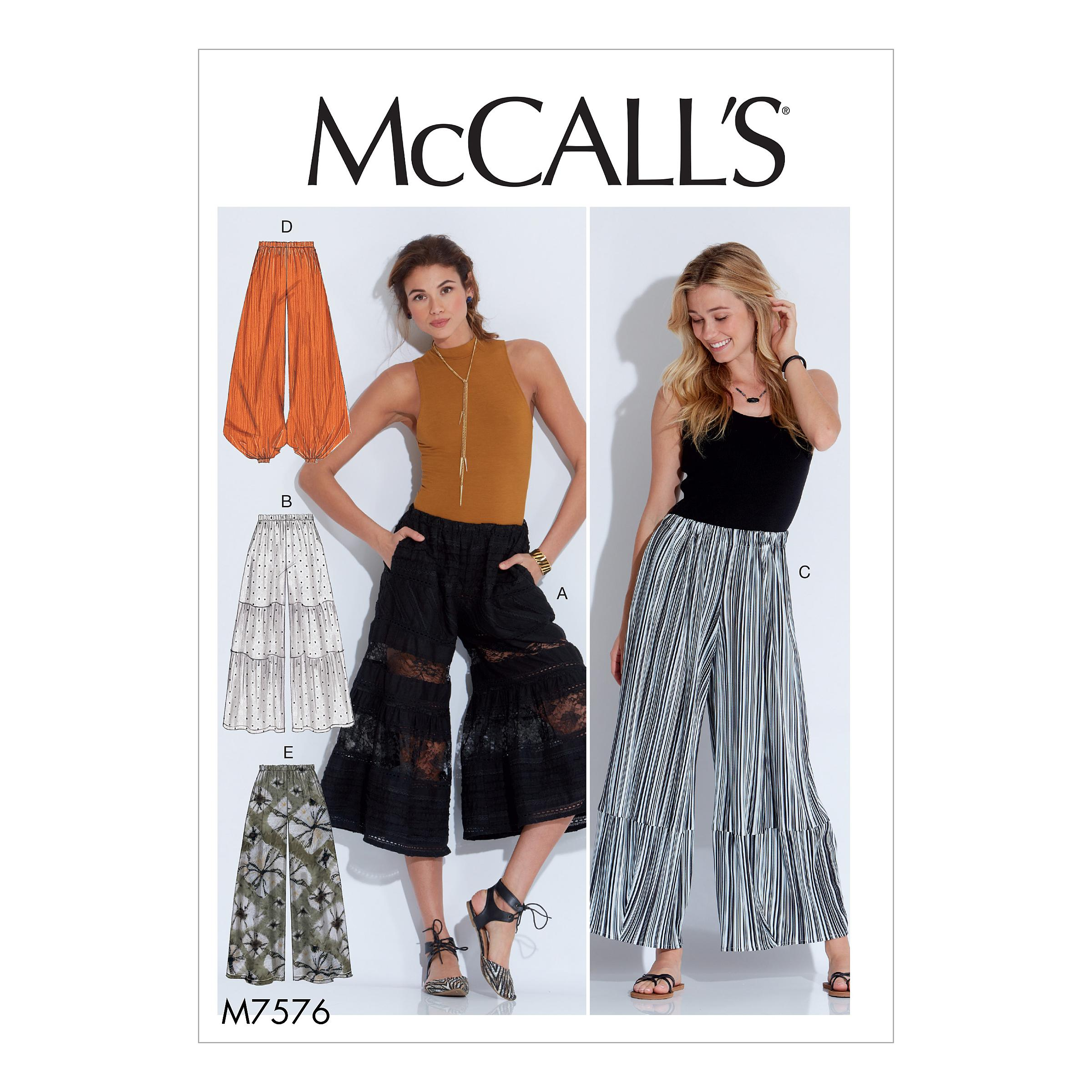 McCalls M7576 Misses Pants, Jumpsuits & Shorts