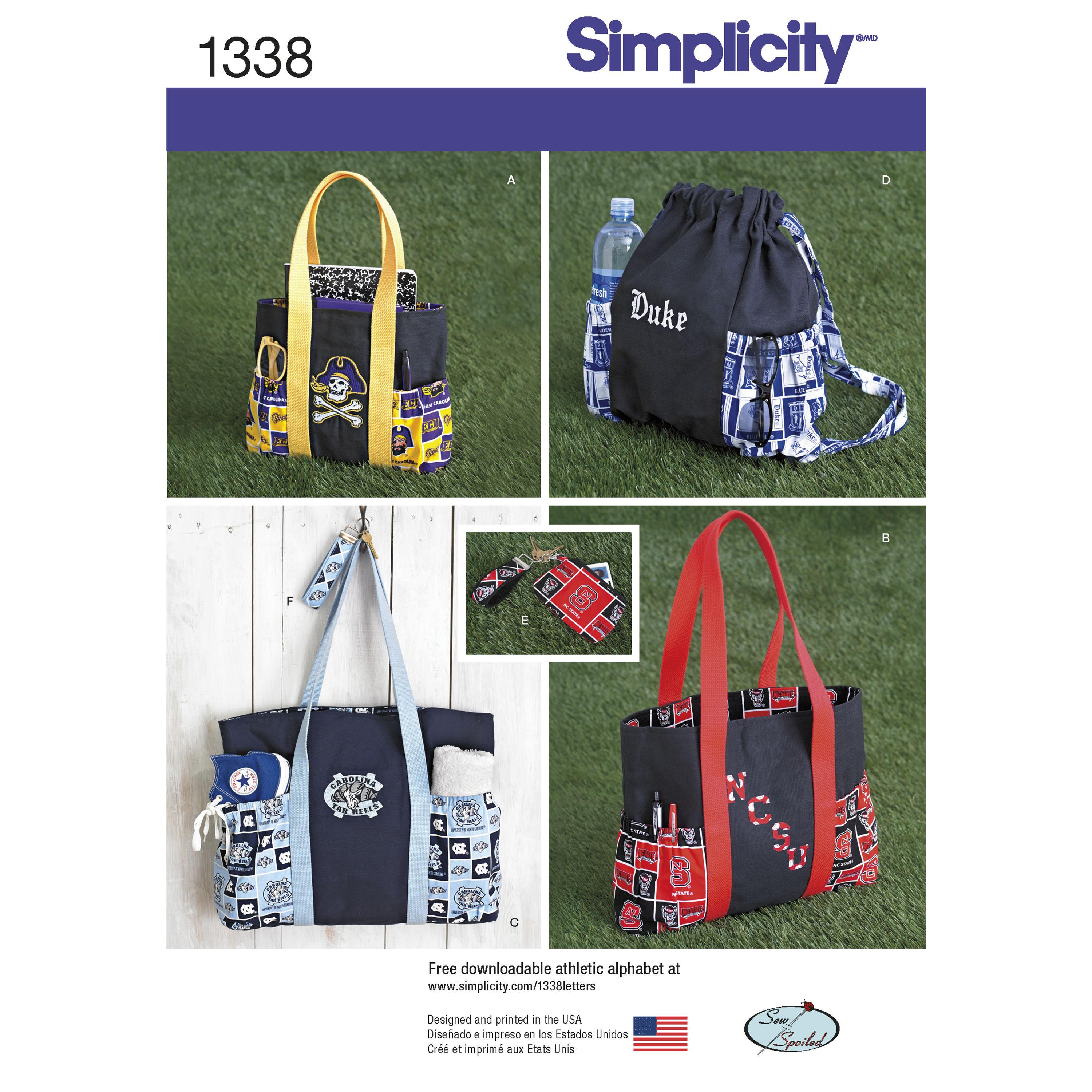 Simplicity S1338 Tote Bags in Three Sizes, Backpack and Coin Purse
