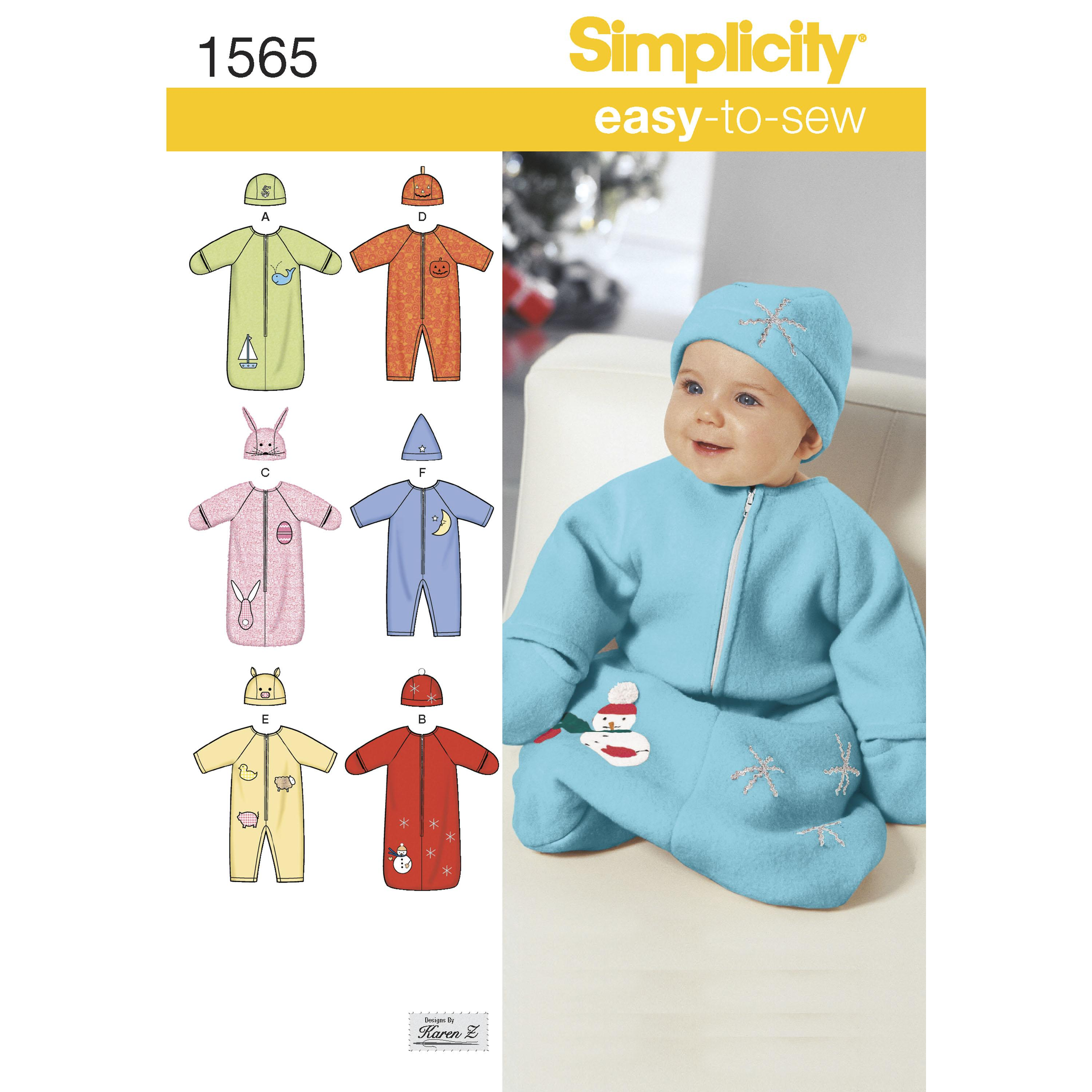 Simplicity S1565 Babies' Bunting, Romper and Hats