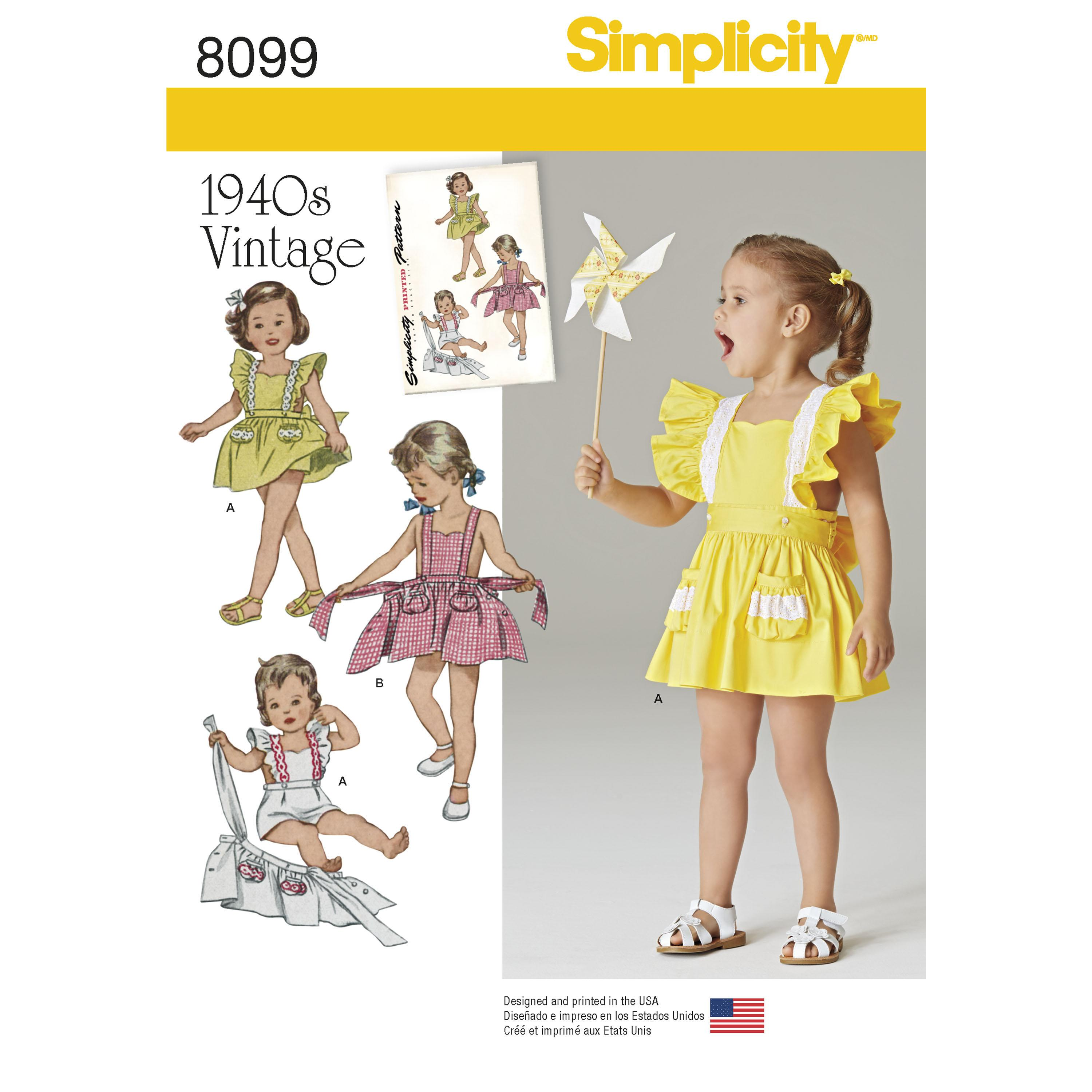 Simplicity S8099 Toddlers' Romper and Button-on skirt
