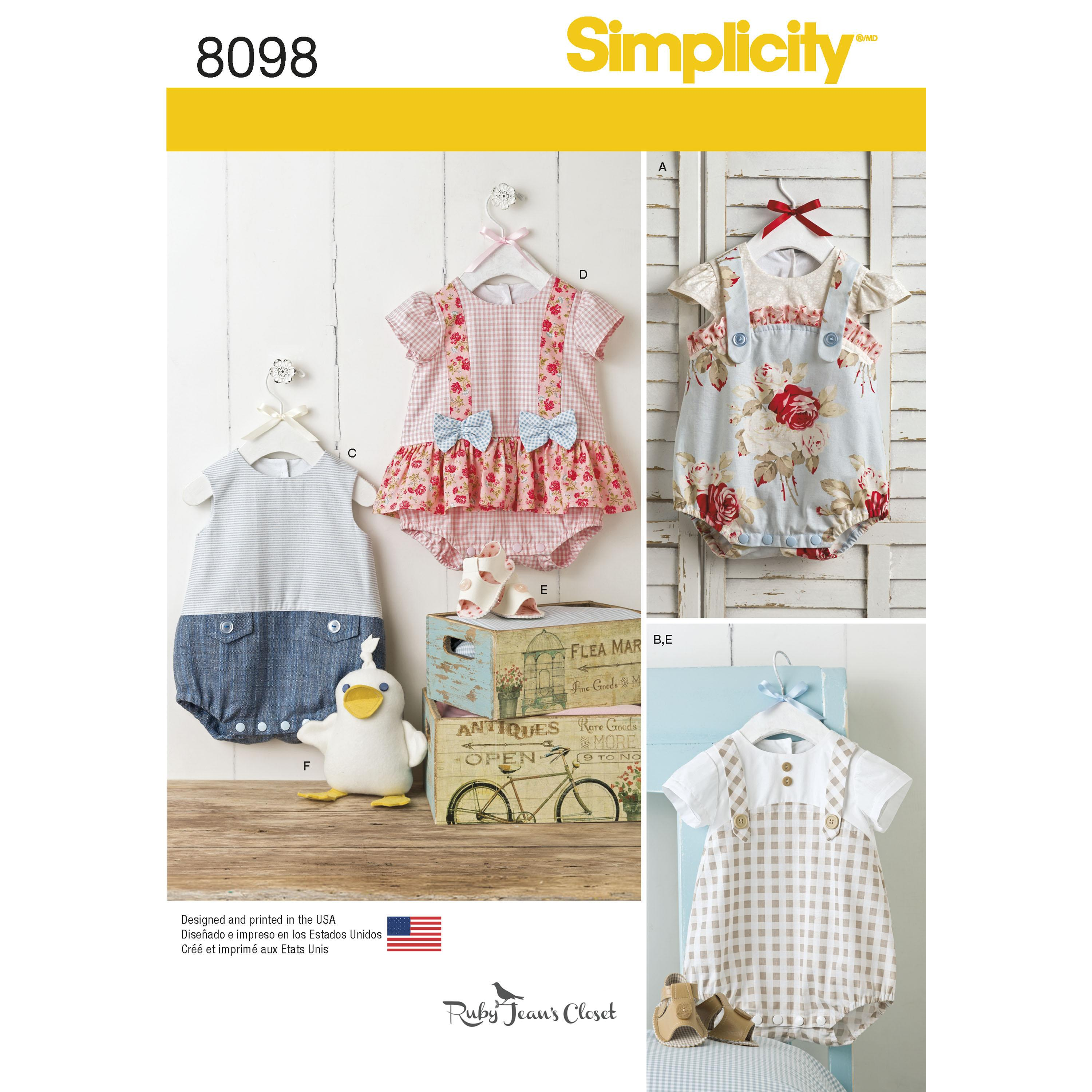 Simplicity S8098 Babies' Rompers, Sandals, and Stuffed Duck