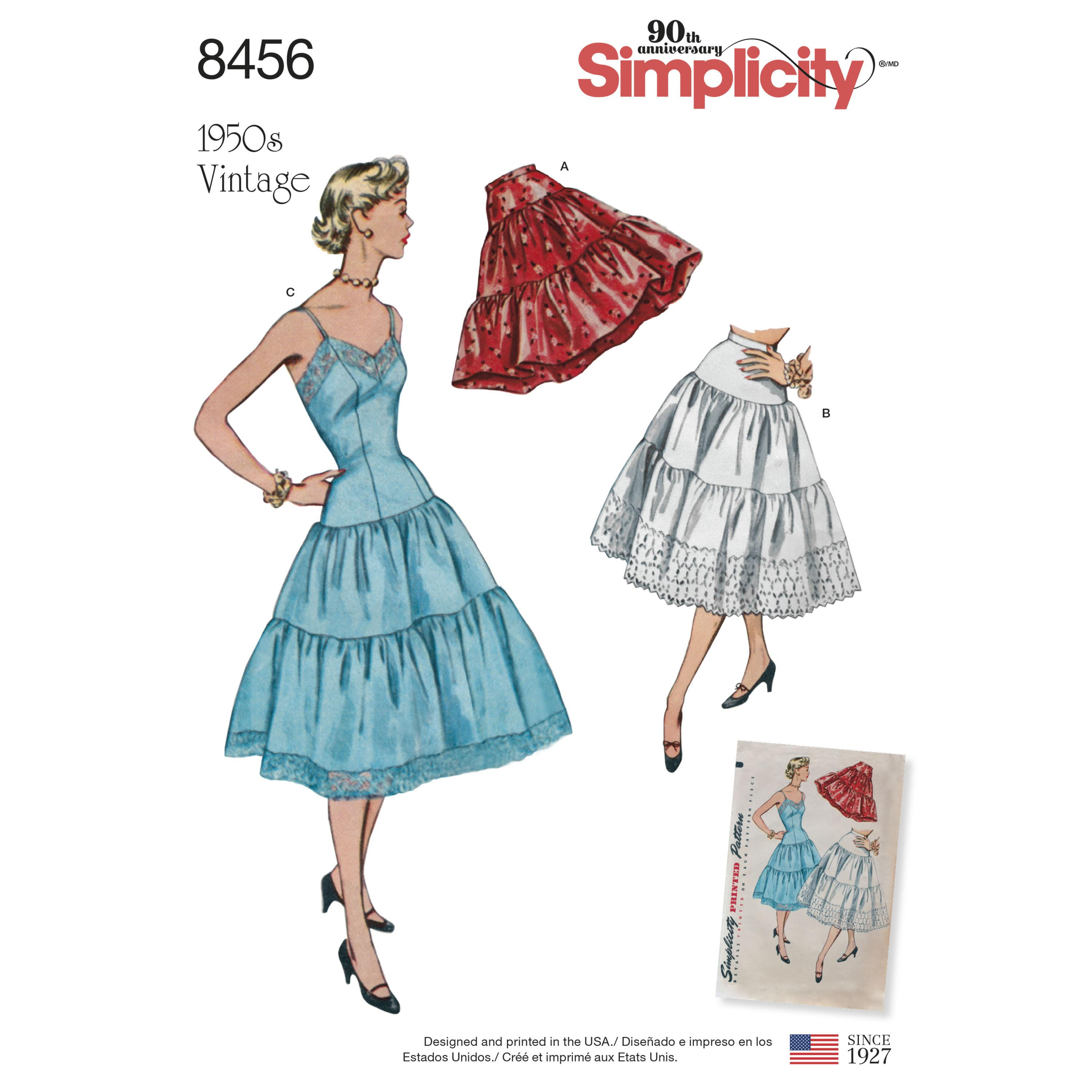 Simplicity S8456 Womens Vintage Petticoat and Slip