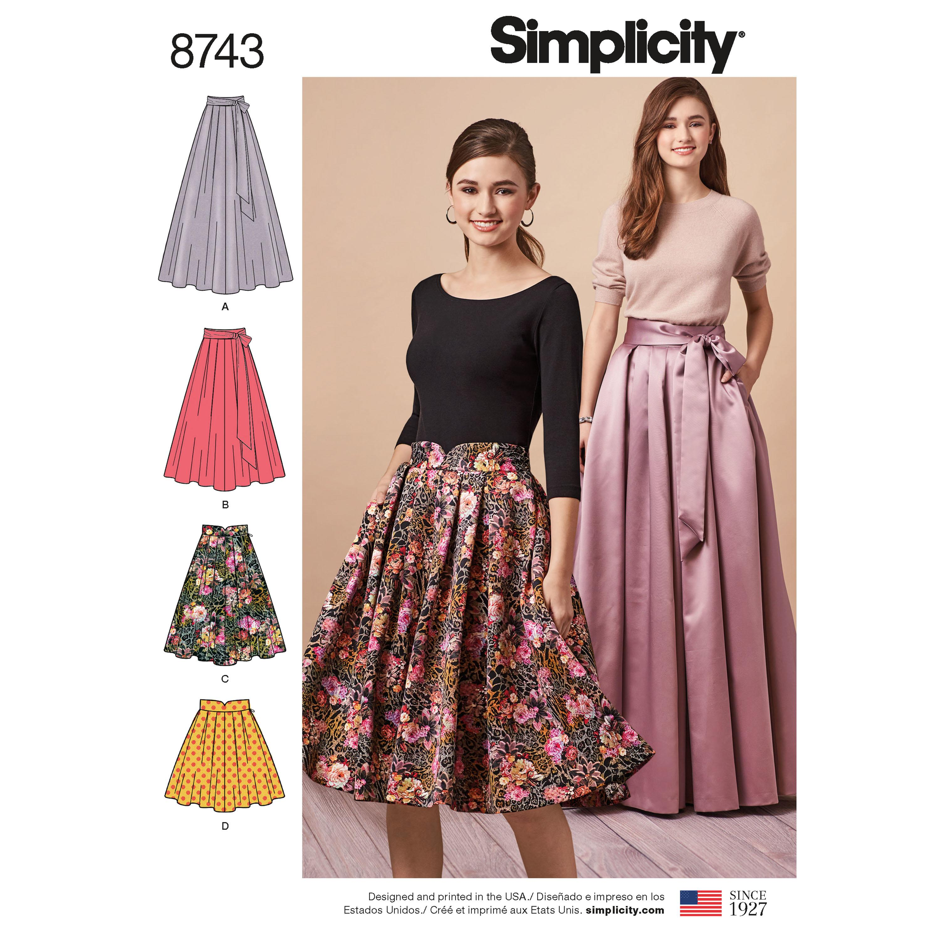 Simplicity S8743 Women's Pleated Skirts