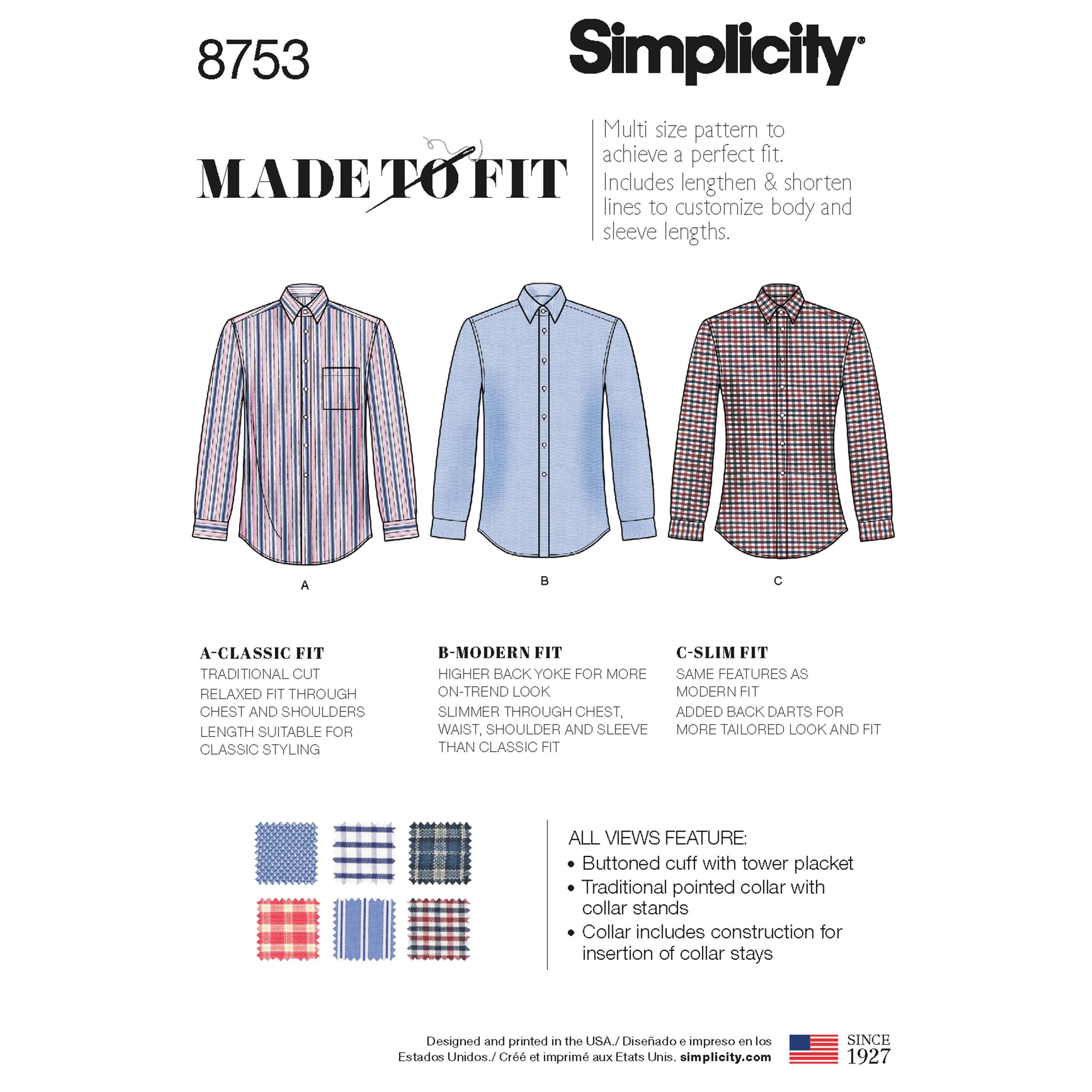 Simplicity S8753 Men's Classic, Modern and Slim Fit Shirt