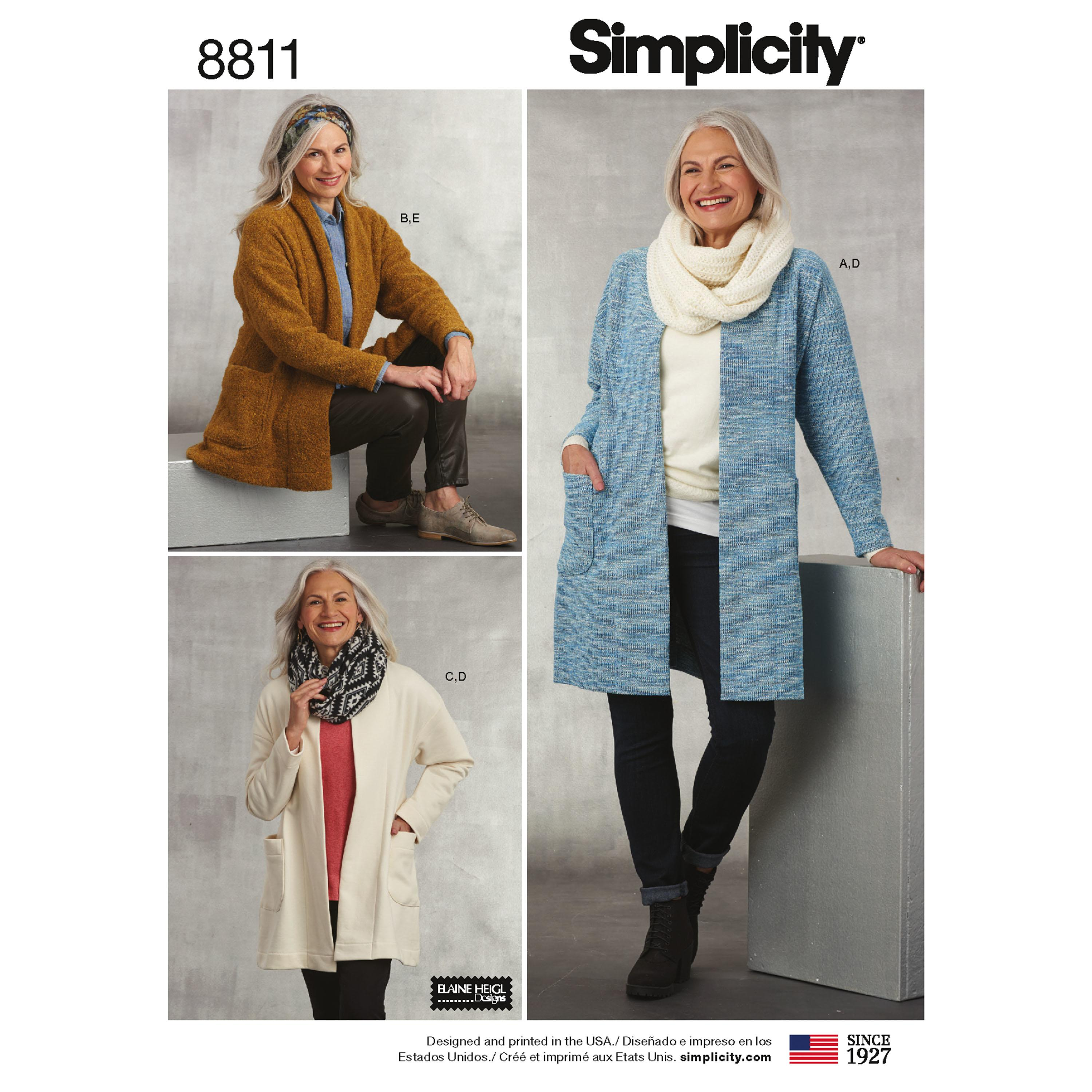 Simplicity S8811 Misses' Knit Sweater, Scarf and Headband