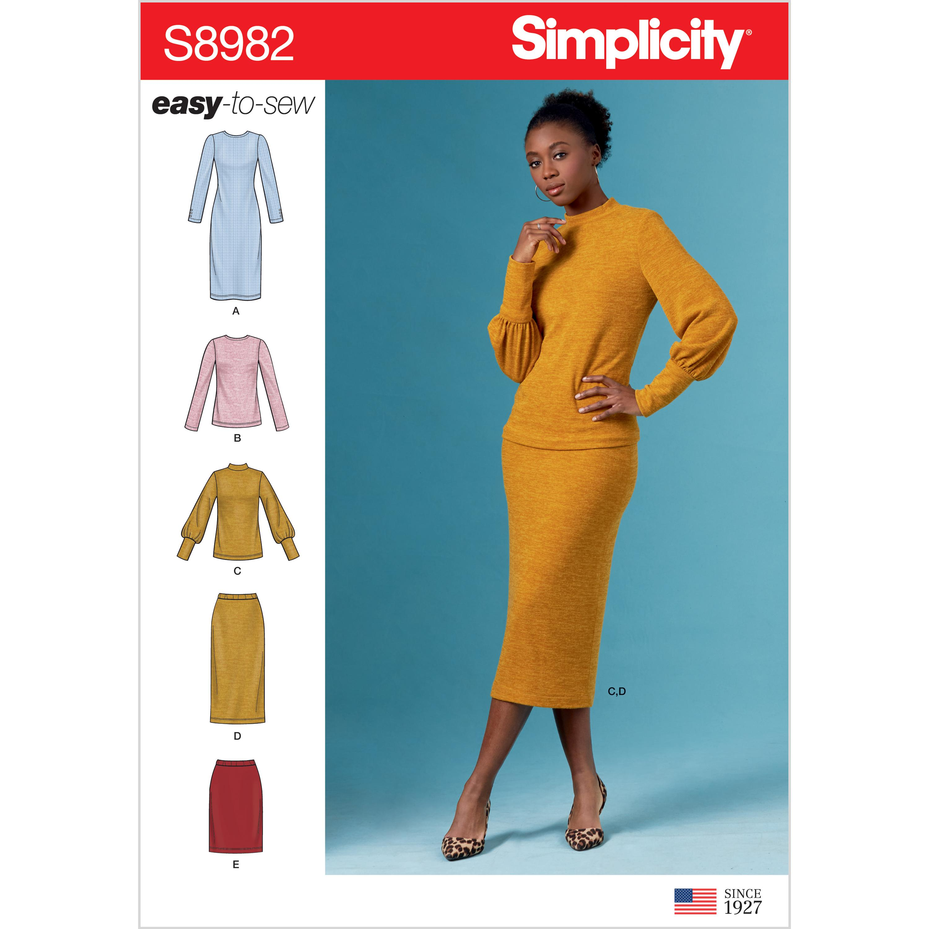 Simplicity S8982 Misses' Knit Two Piece Sweater Dress, Tops, Skirts