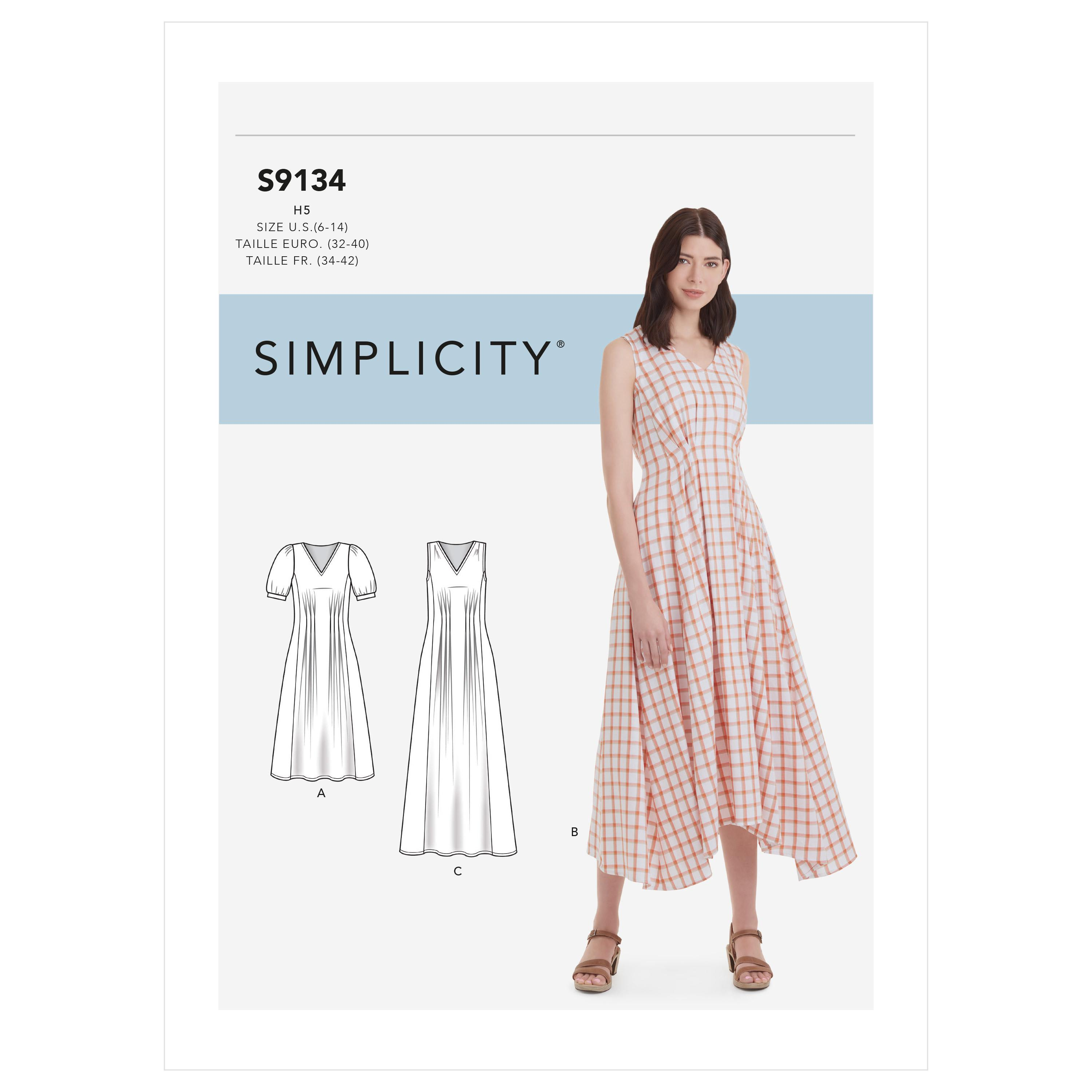 Simplicity S9134 Misses' Released Pleat Dress