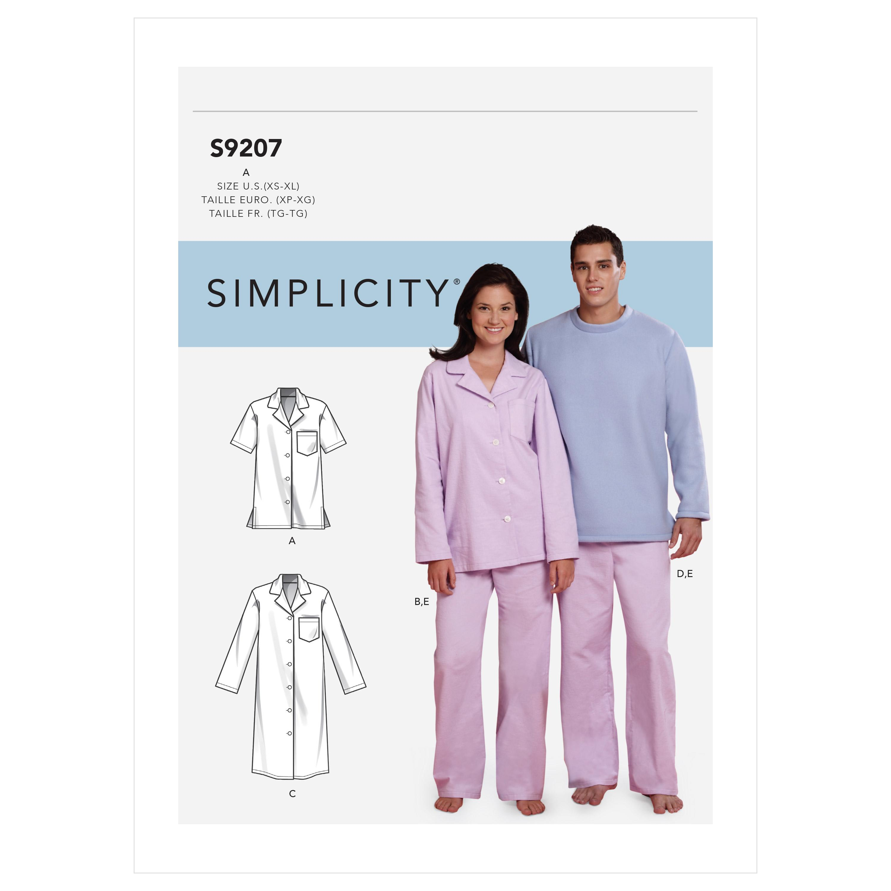 Simplicity S9207 Misses'/Men's Tops, Nightshirt, Pants and Sweatsuit For Dog