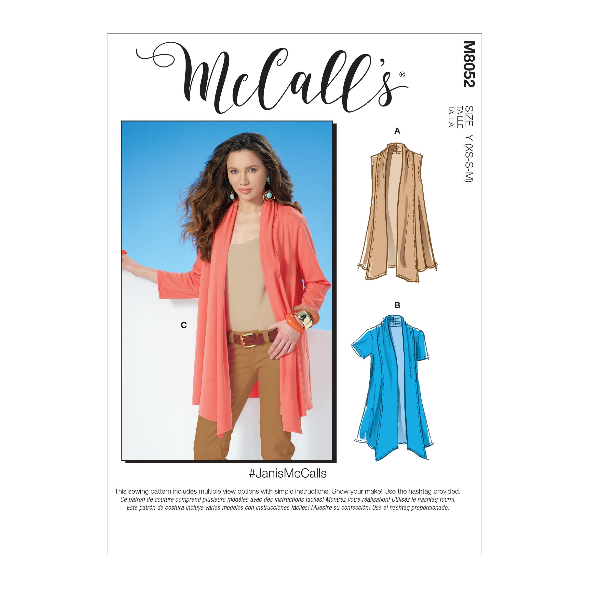 McCalls M8052 Misses Tops|Misses Jackets & Vests