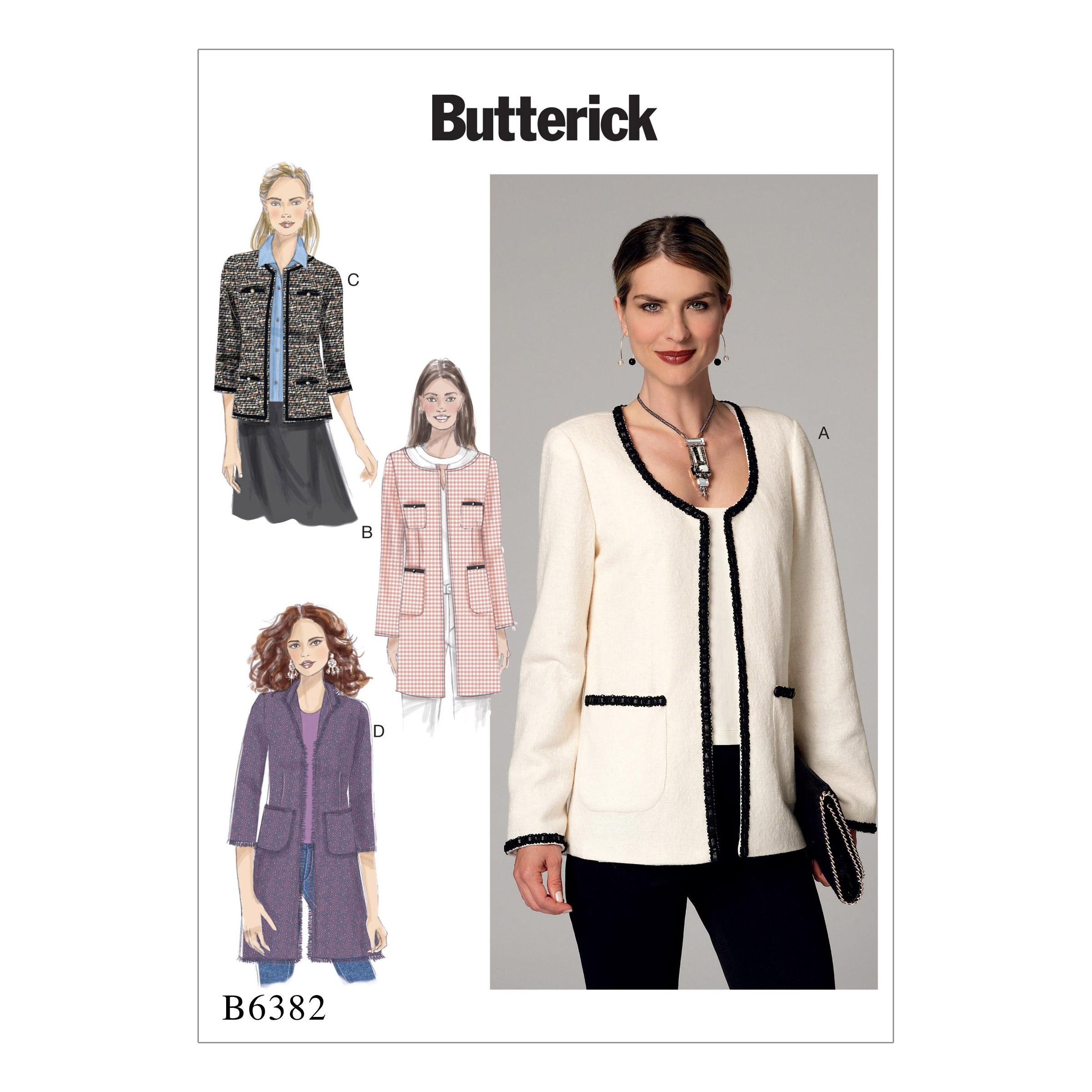 Butterick B6382 Misses' Open-Front Jackets with Patch Pockets