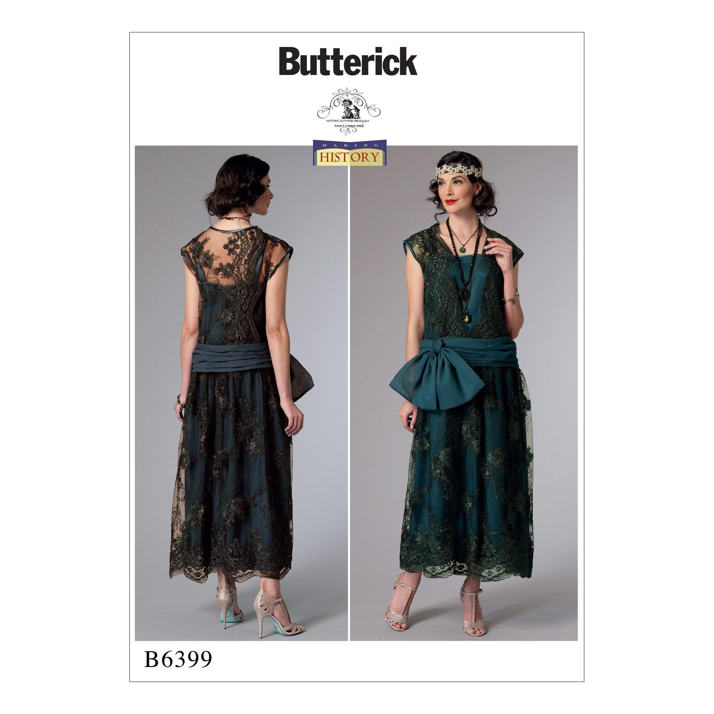Butterick B6399 Misses' Drop-Waist Dress with Oversized Bow