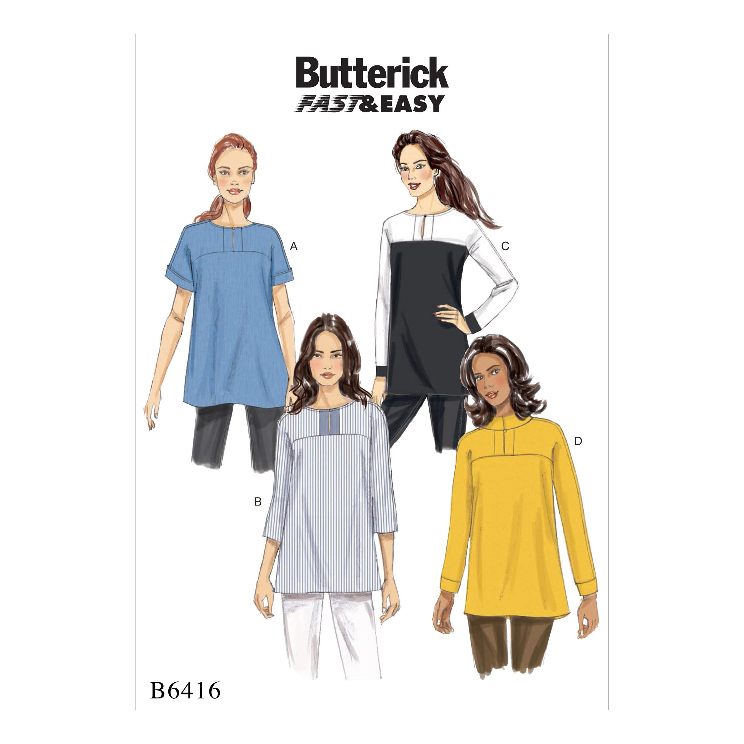 Butterick B6416 Misses' Button-Closure Tunics with Yokes