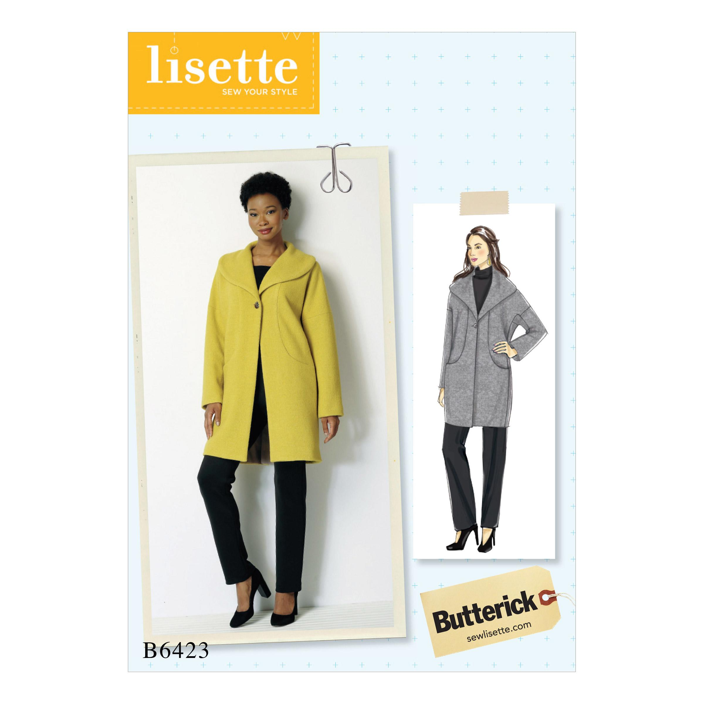 Butterick B6423 Misses' Drop-Shoulder, Shawl Collar Coat with In-Seam Pockets