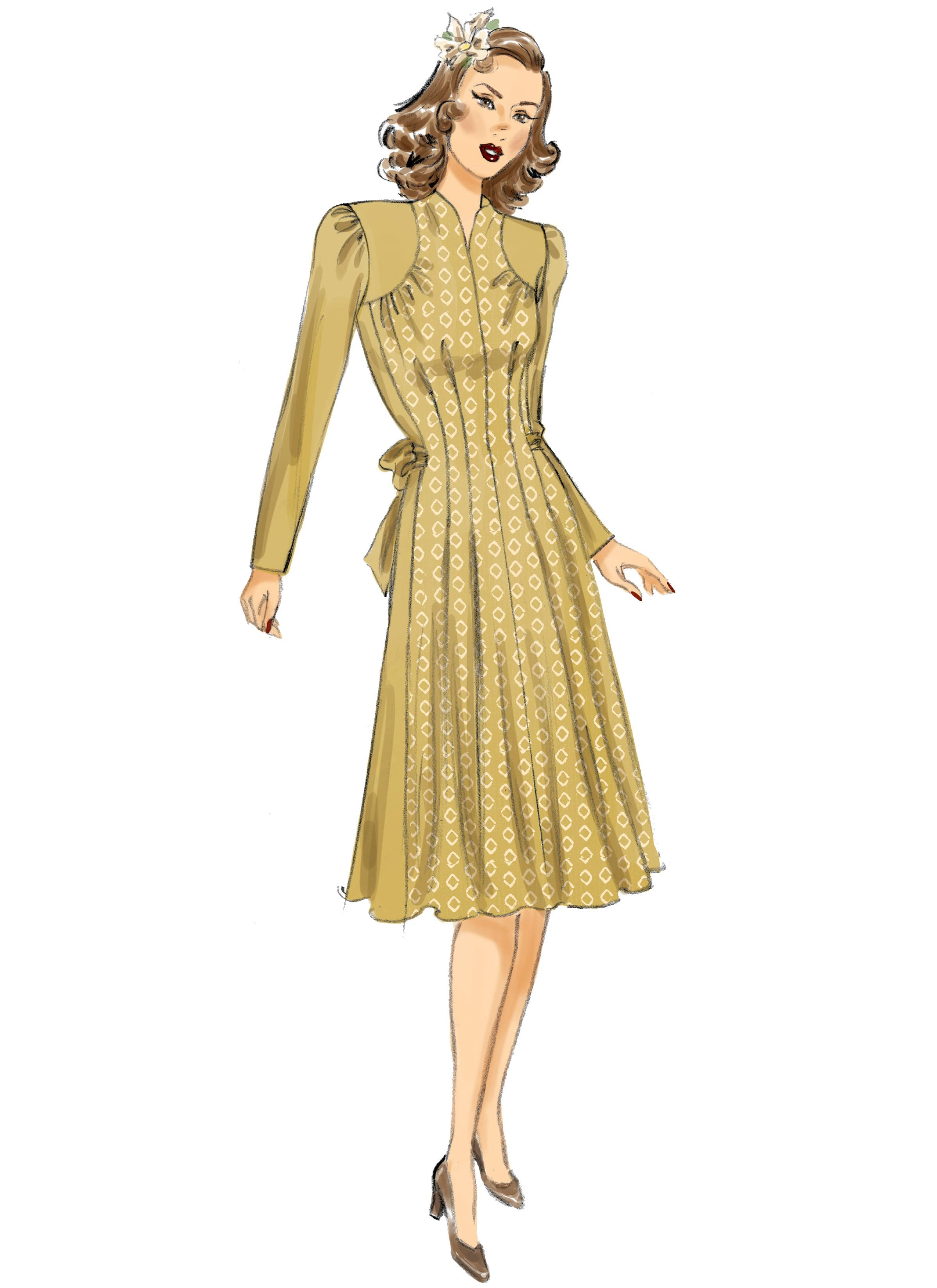Butterick B6485 Misses' Dresses with Shoulder and Bust Detail, Waist Tie, and Sleeve Variations