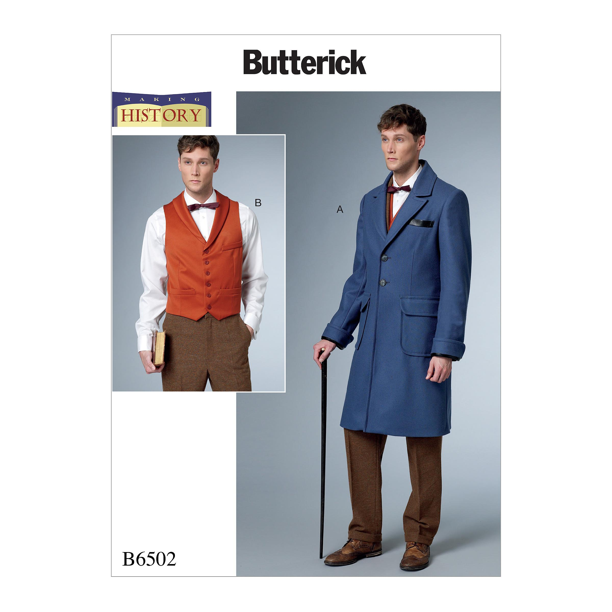 Butterick B6502 Men's Single-Breasted Lined Coat with Back Belt and Vest with Buckle