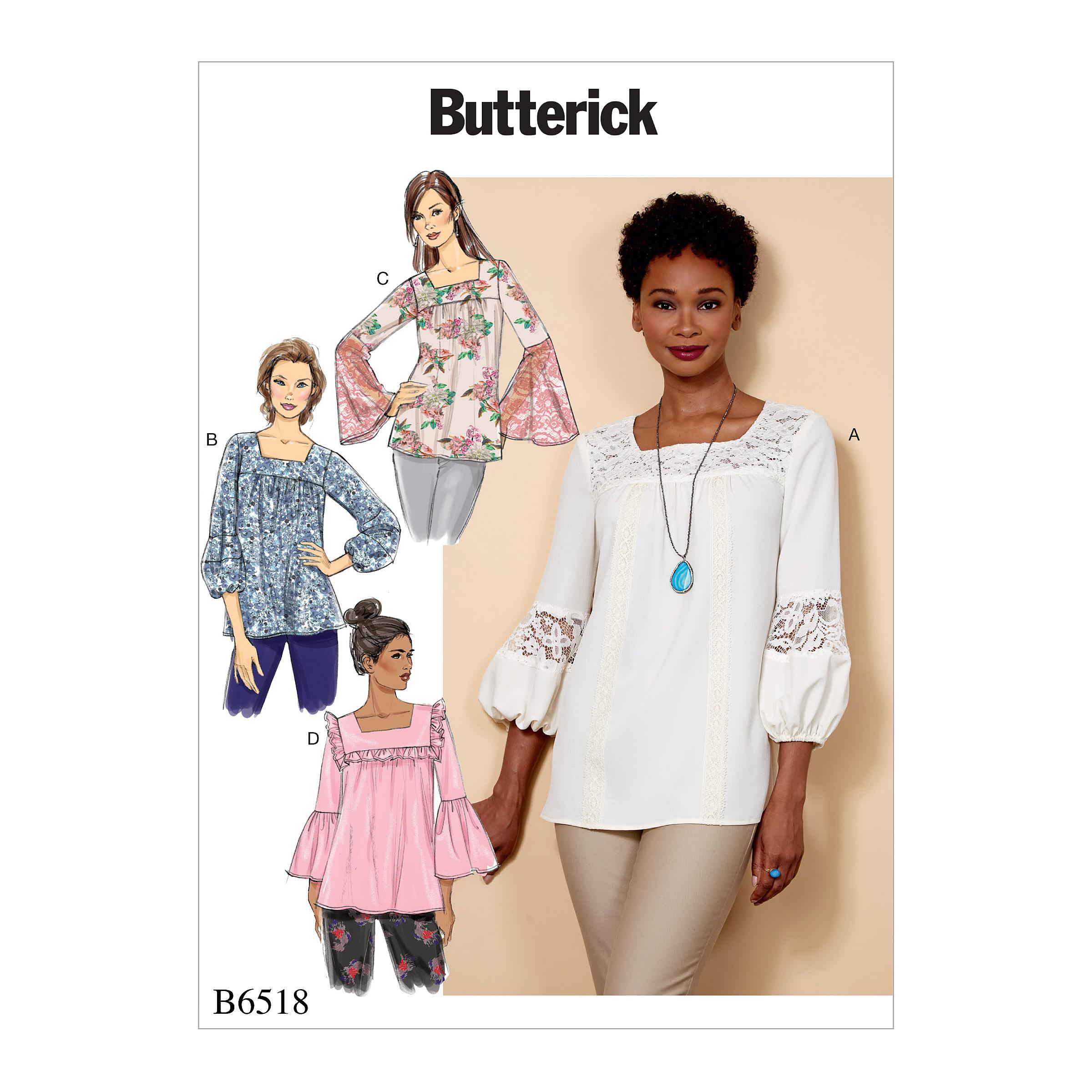 Butterick B6518 Misses' Square-Neck Top with Yoke