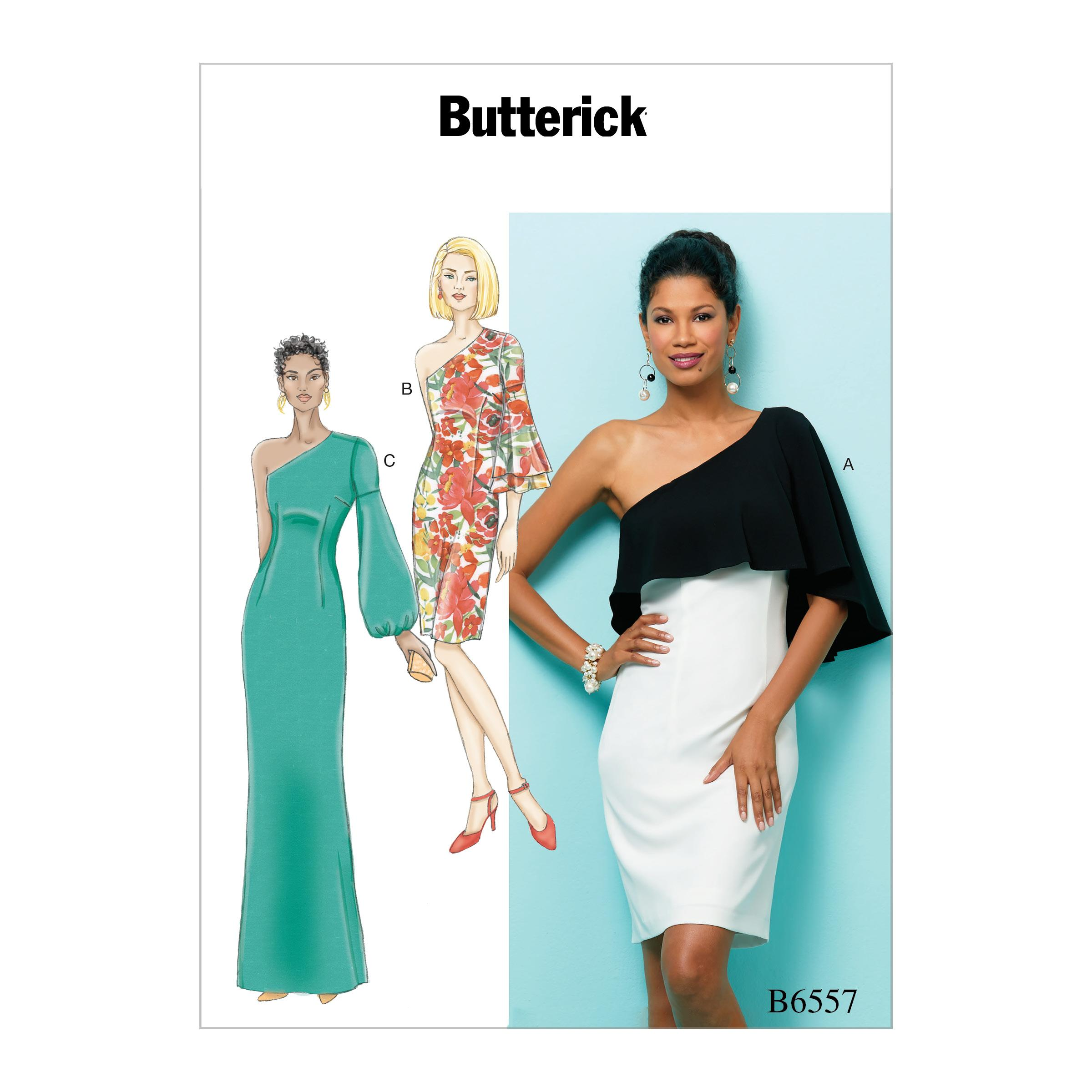 Butterick B6557 Misses' One Shoulder Dress