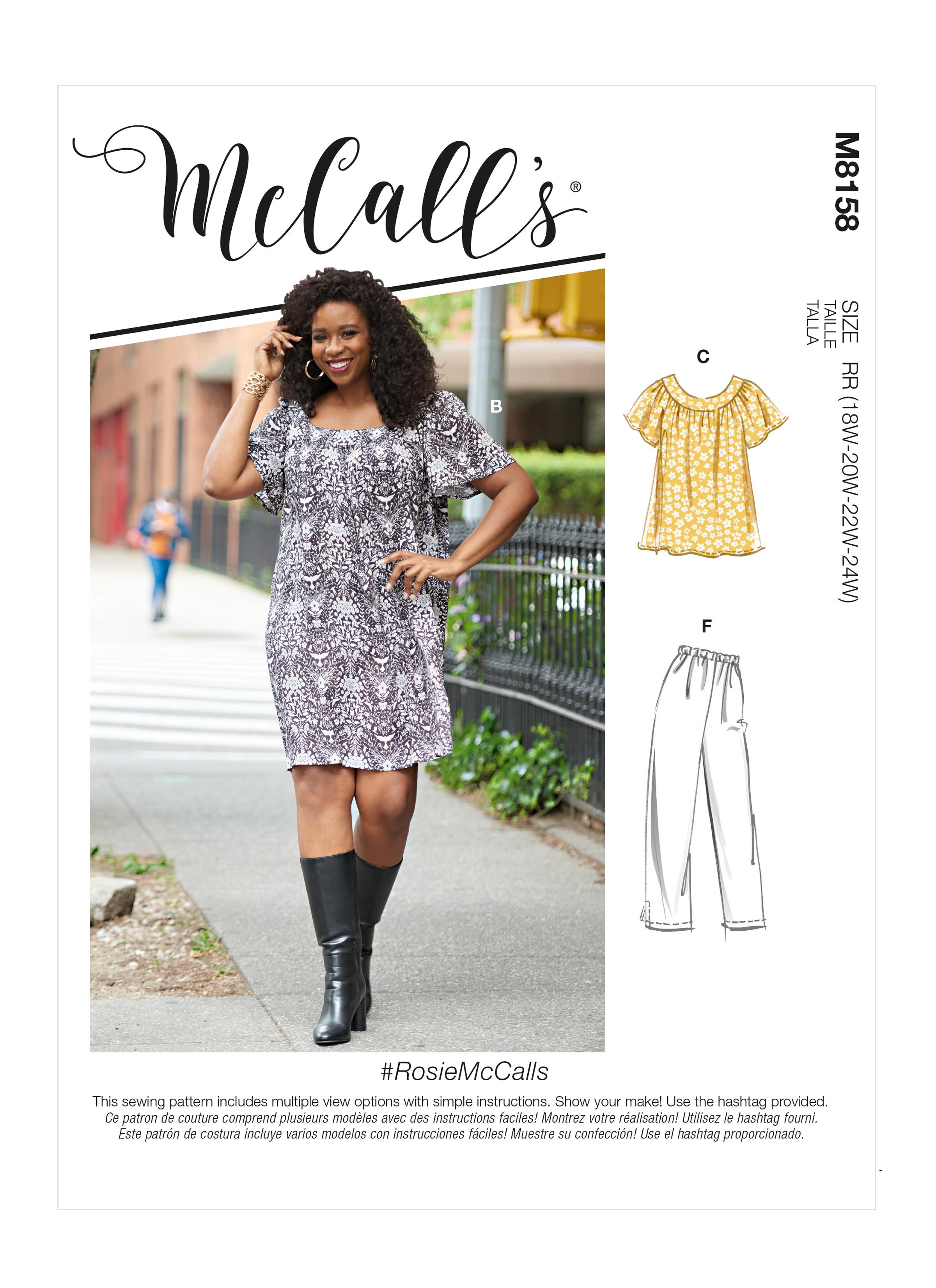 McCalls M8158 #RosieMcCalls - Women's Tops, Dresses, Shorts & Capri Pants
