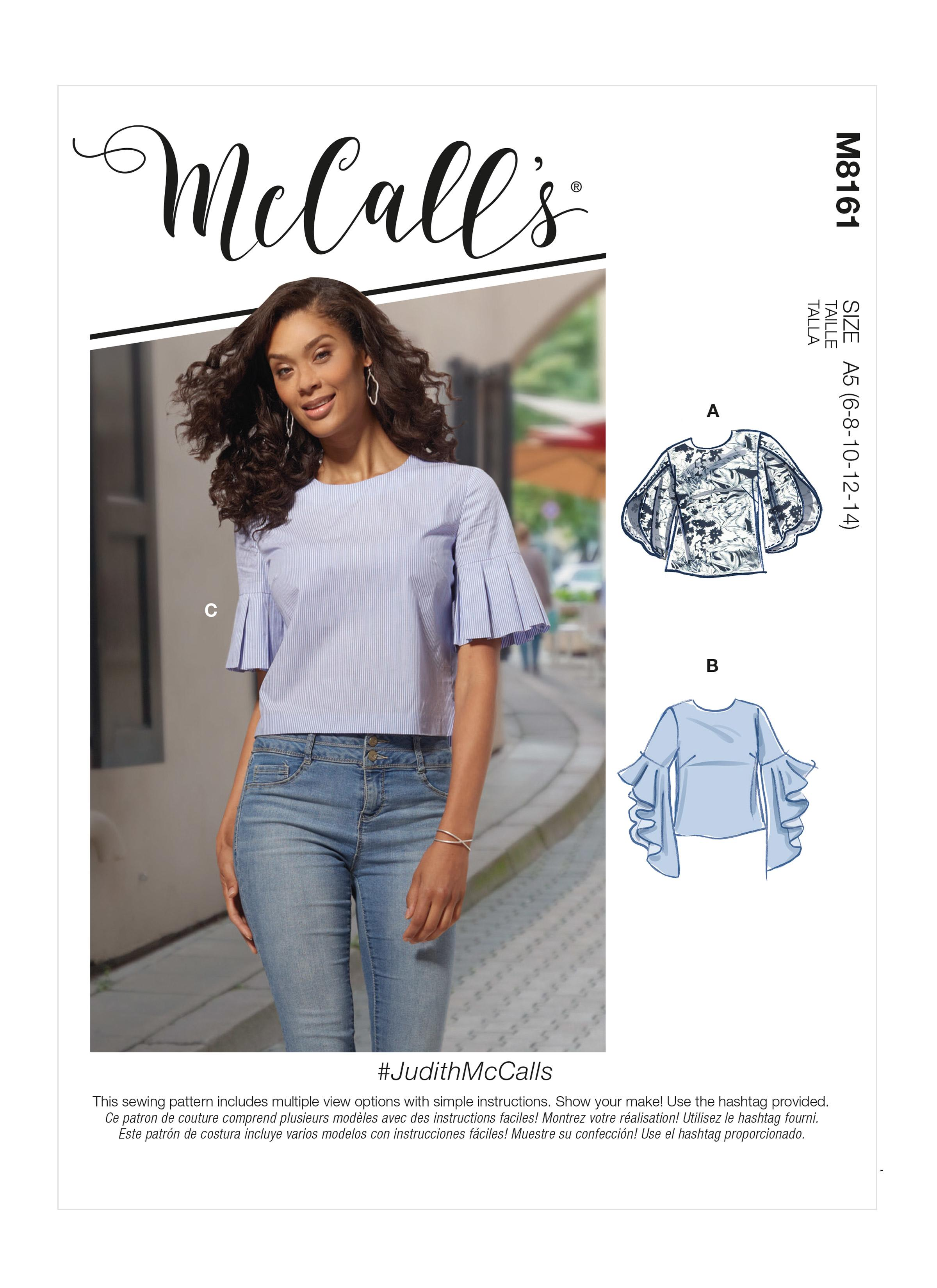 McCalls M8161 #JudithMcCalls - Misses' Tops With Trumpet, Tulip, Pleated Or Bubble Sleeves