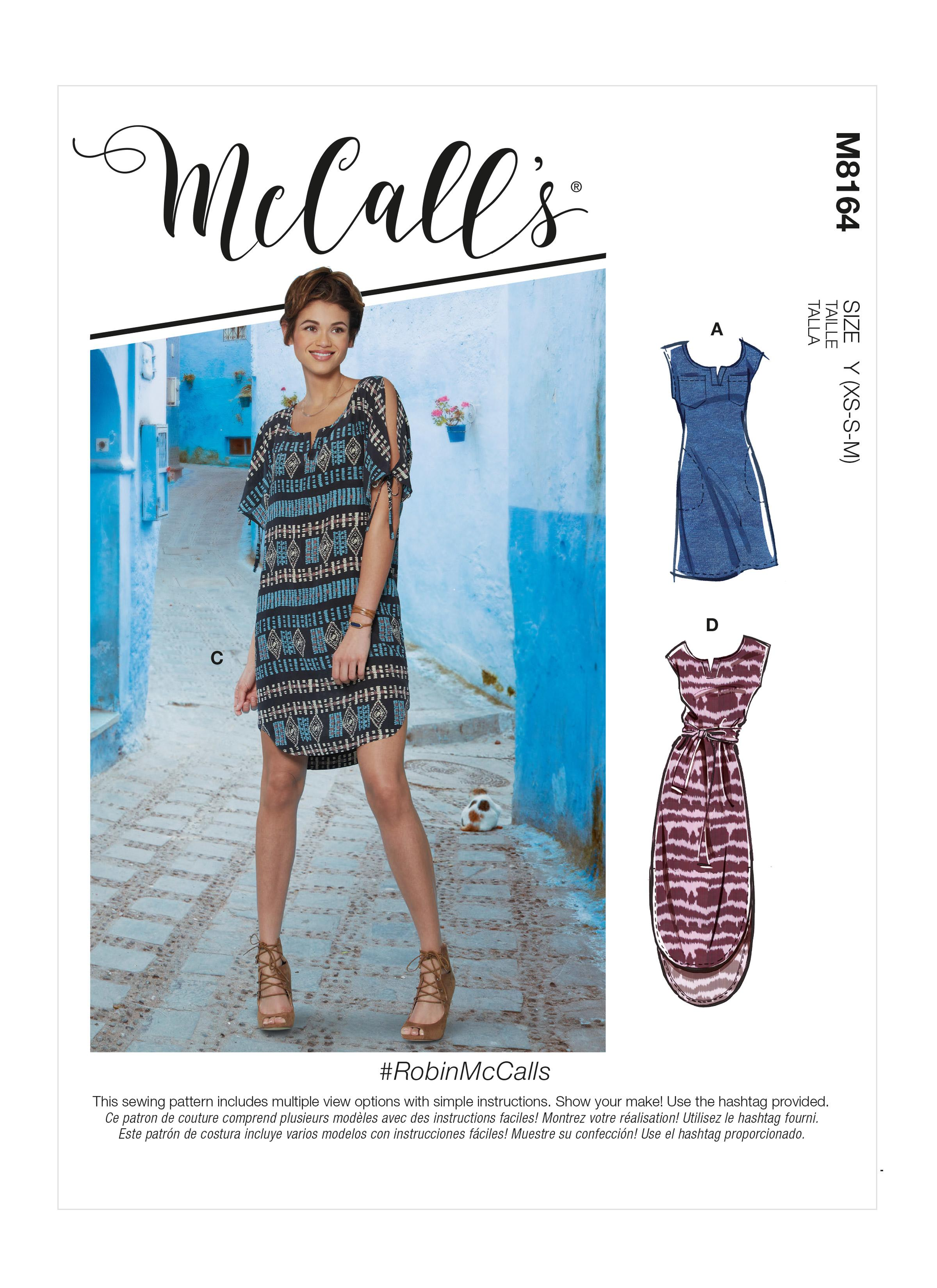 McCalls M8164 #RobinMcCalls - Misses' Pullover Dresses With Sleeve Ties, Pocket Variations & Belt