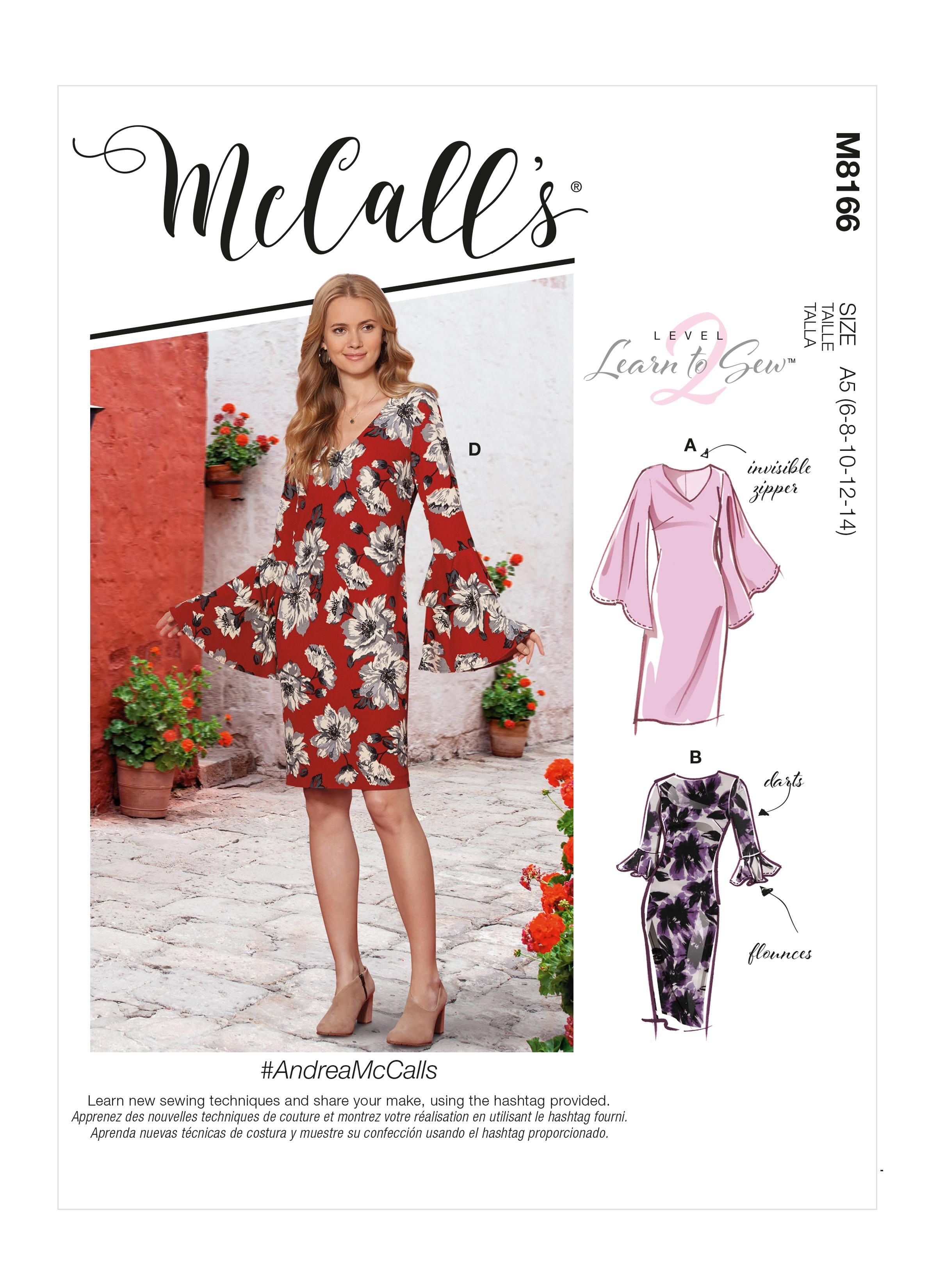 McCalls M8166 #AndreaMcCalls - Misses' Dresses With Flounce Sleeve Variations