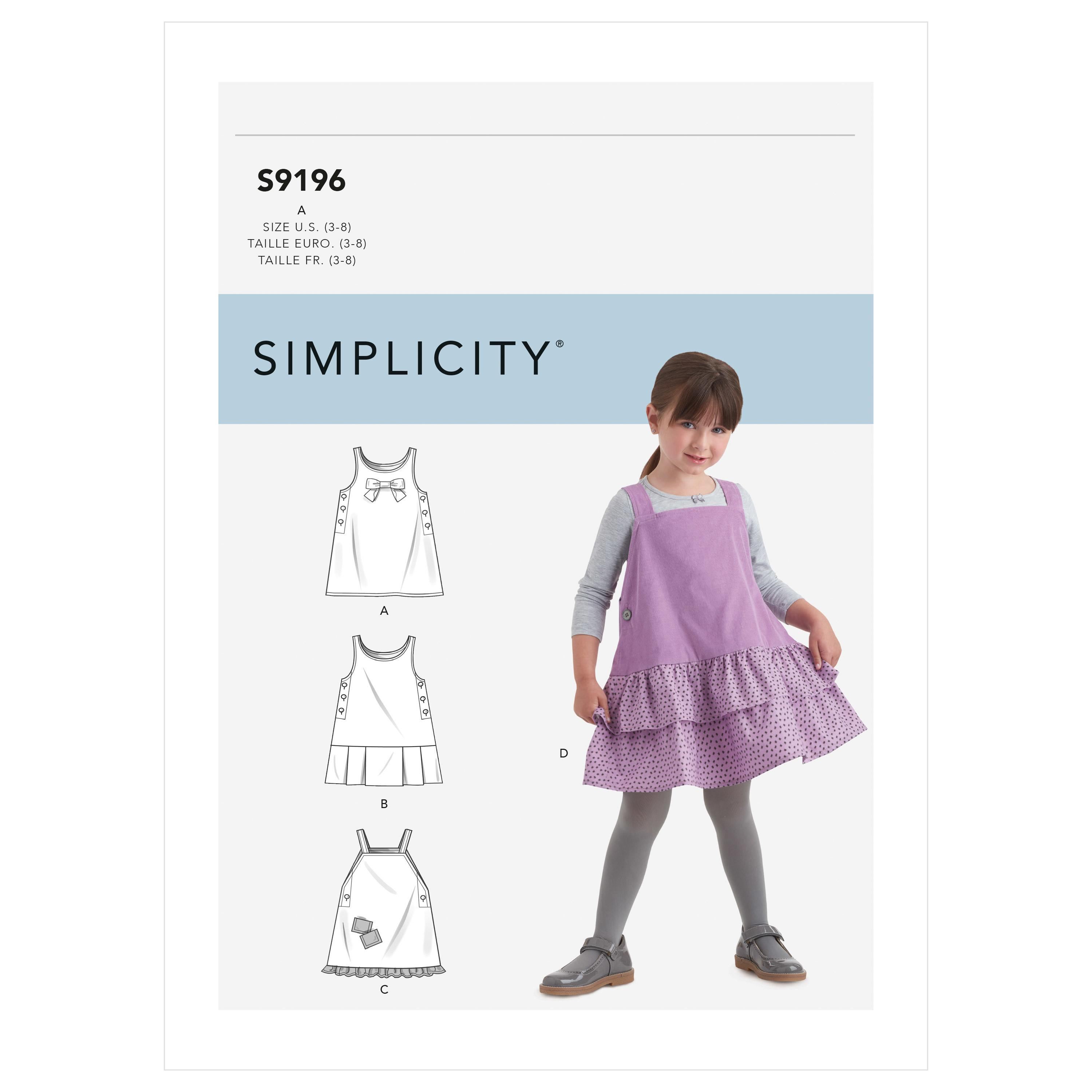 Simplicity Sewing Pattern S9196 Children's Jumpers