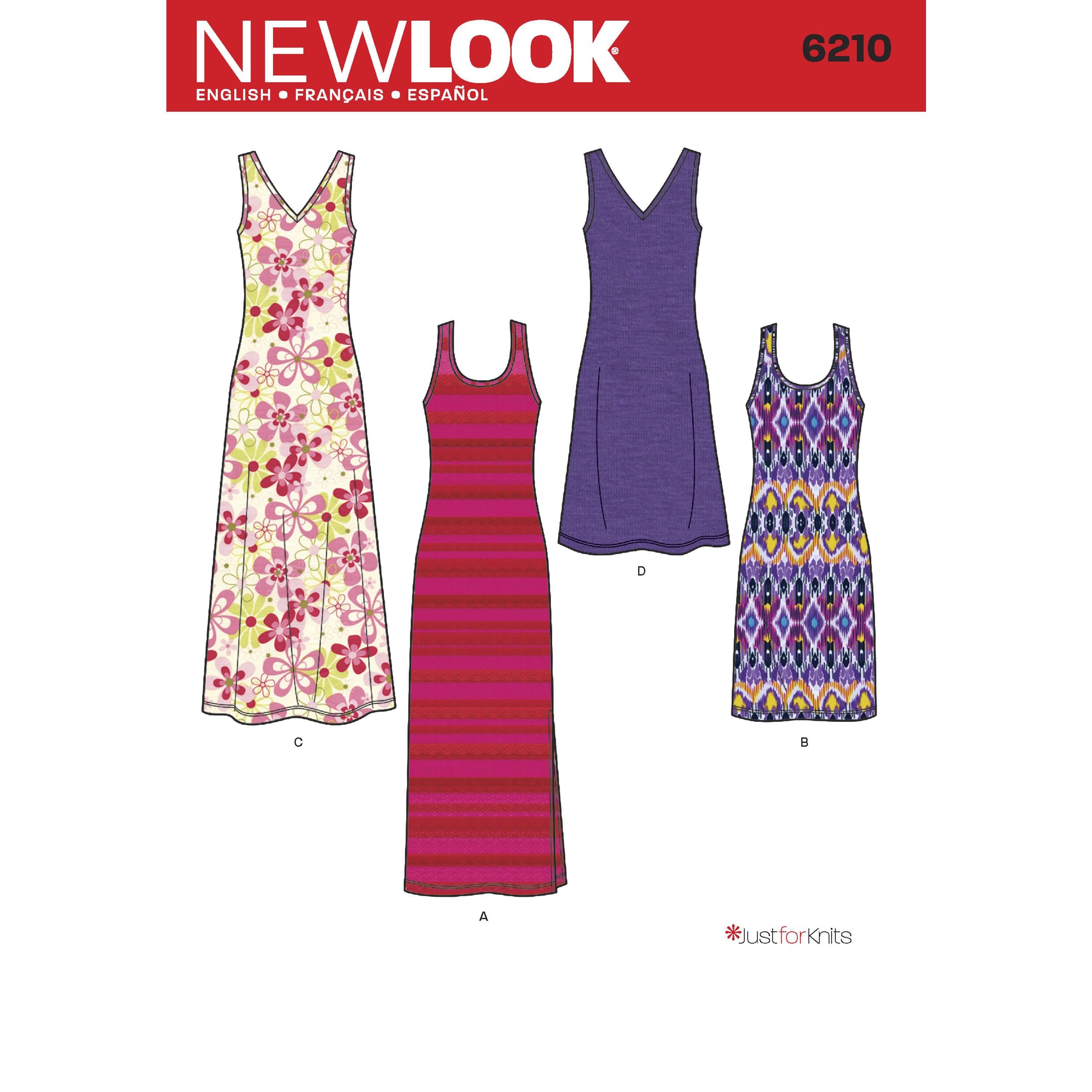 NewLook N6210 Misses' Knit Dress in Two Lengths