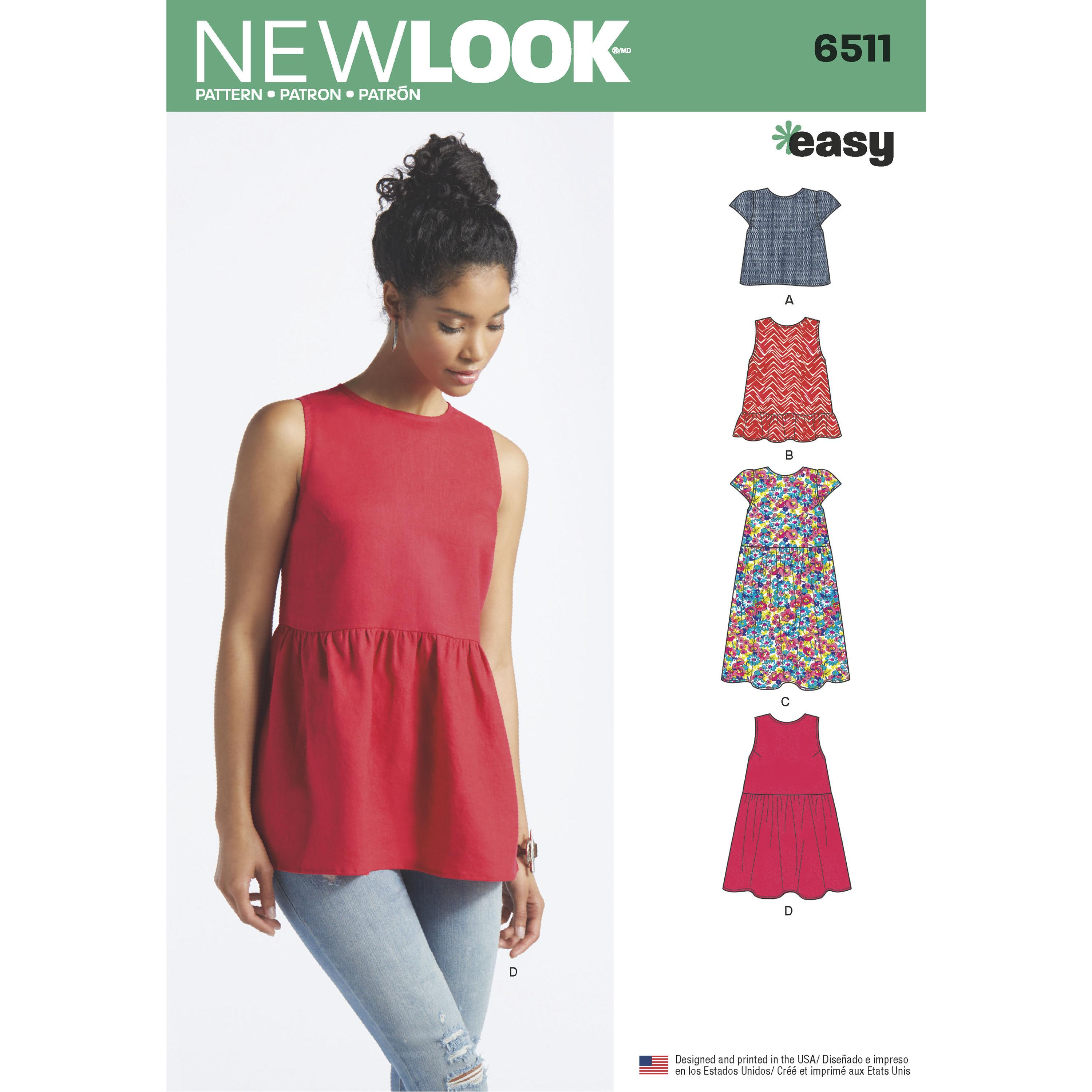 NewLook N6511 Women?s   Tops With Length and Sleeve Variations