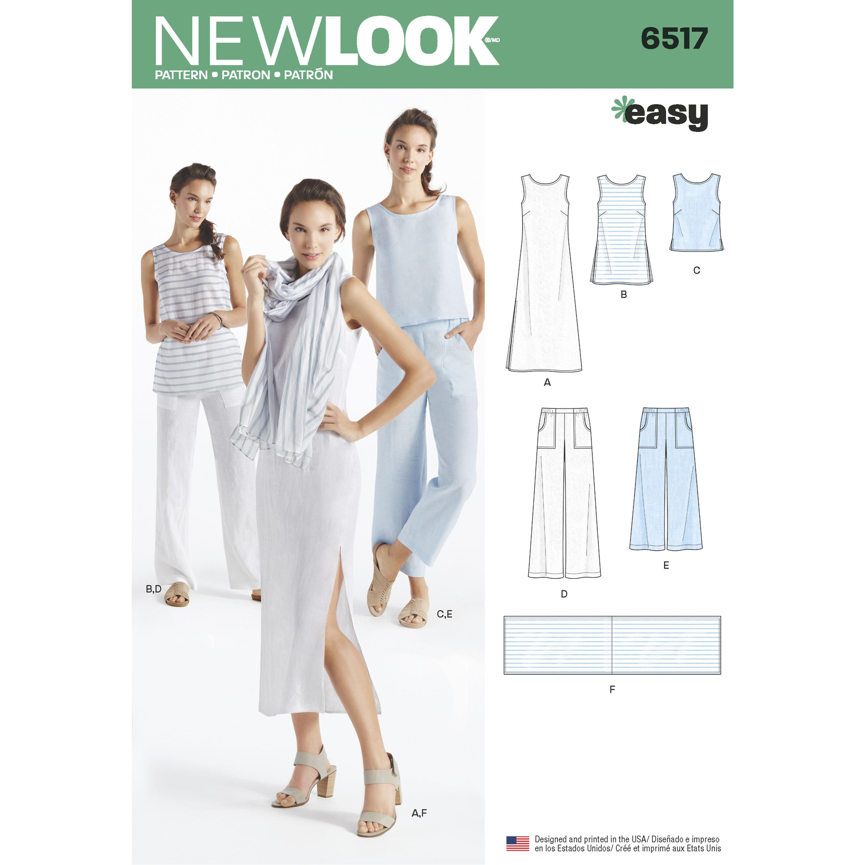 NewLook N6517 Women?s   Dress, Tunic, Top, Pants, and Scarf