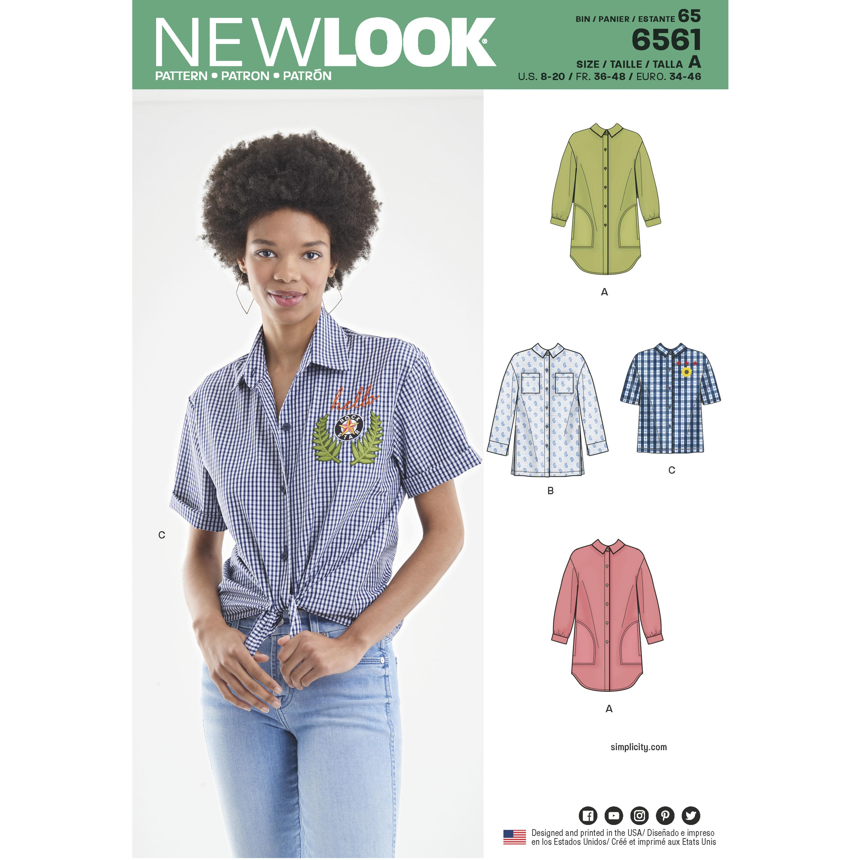 NewLook N6561 Women's Shirts in Three Lengths