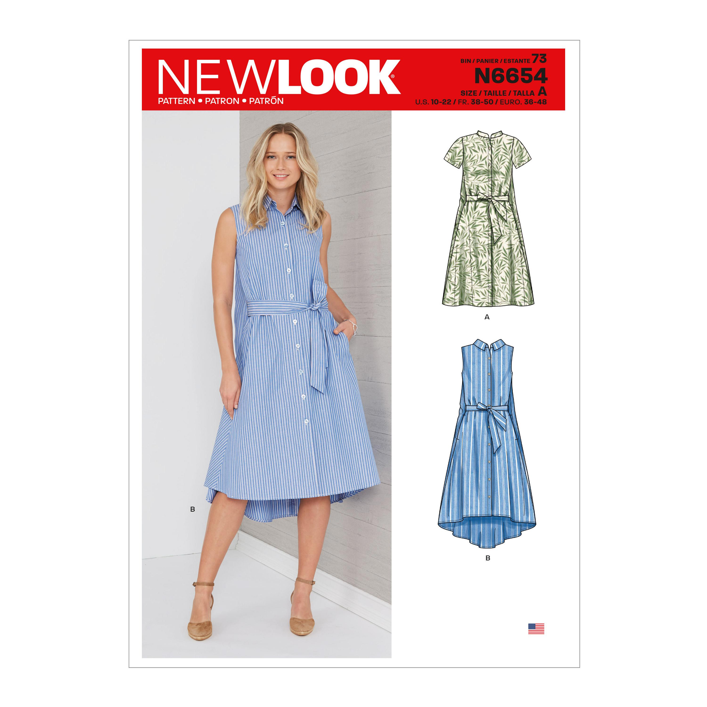 New Look Sewing Pattern N6654 Misses' Shirt Dress With Flared Back