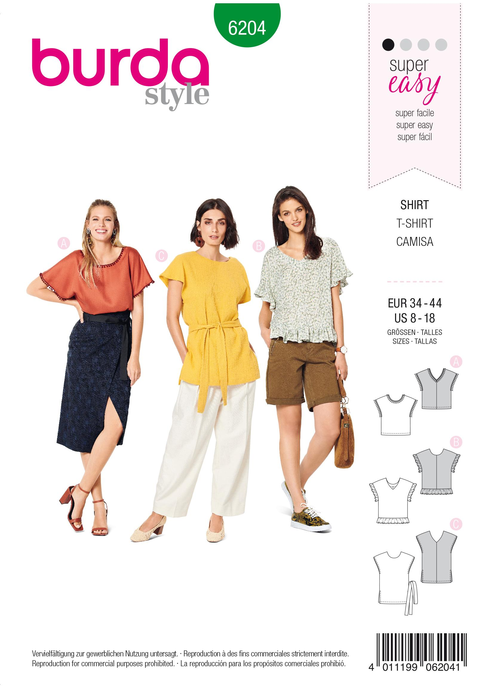 Burda B6204 Women's Blouse Shirt Sewing Pattern