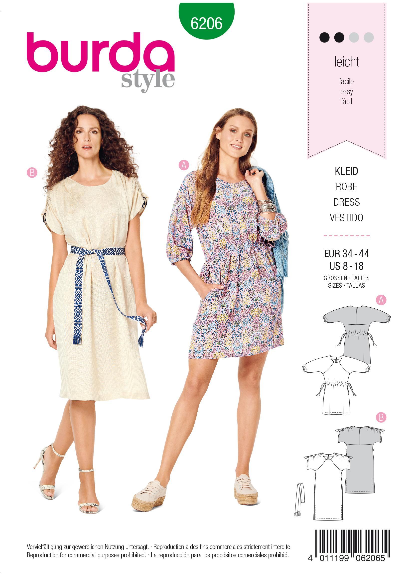Burda B6206 Women's Casual Dress with Raglan Sleeves Sewing Pattern