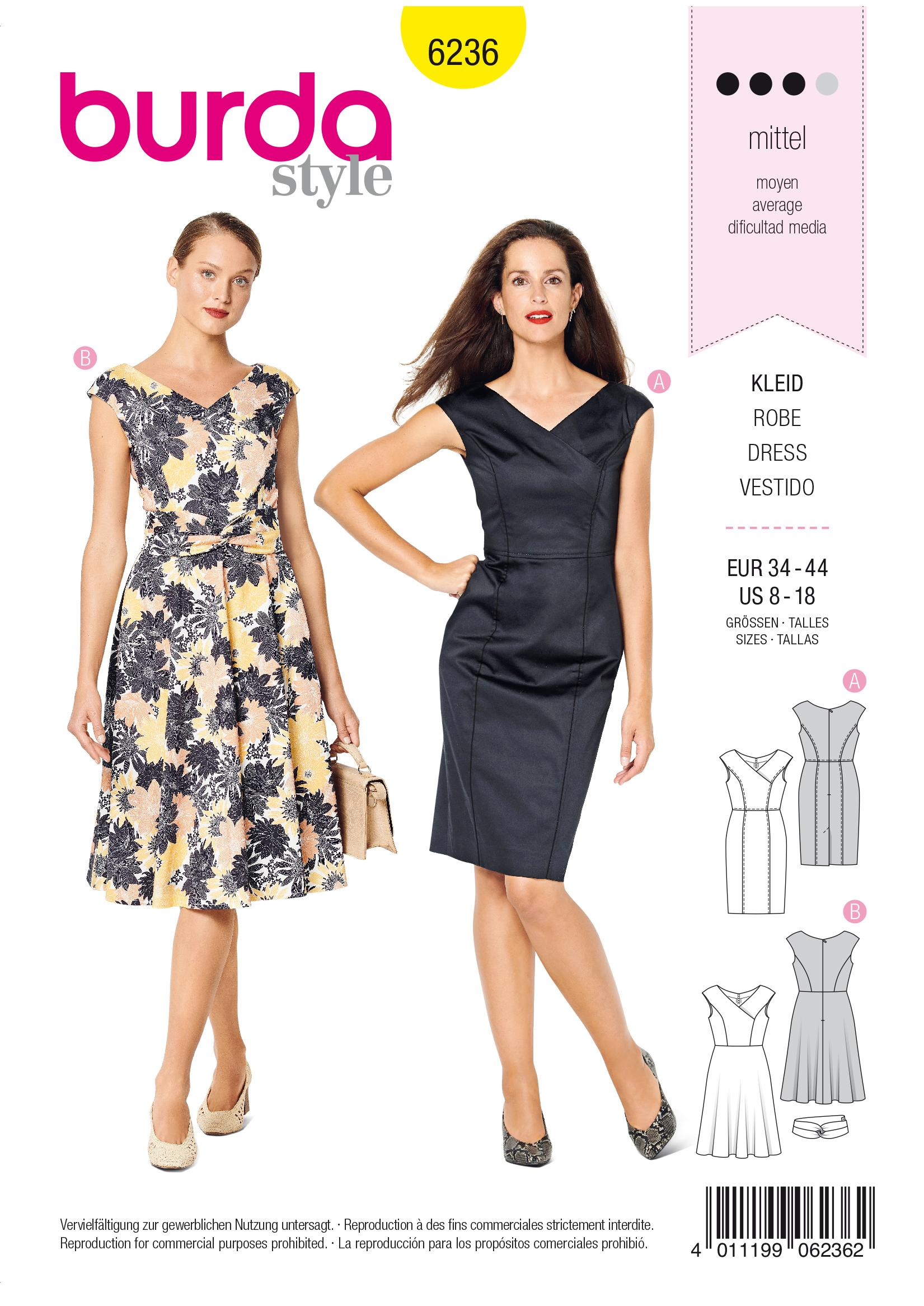 Burda B6236 Dress in Wrap Look Sewing Pattern