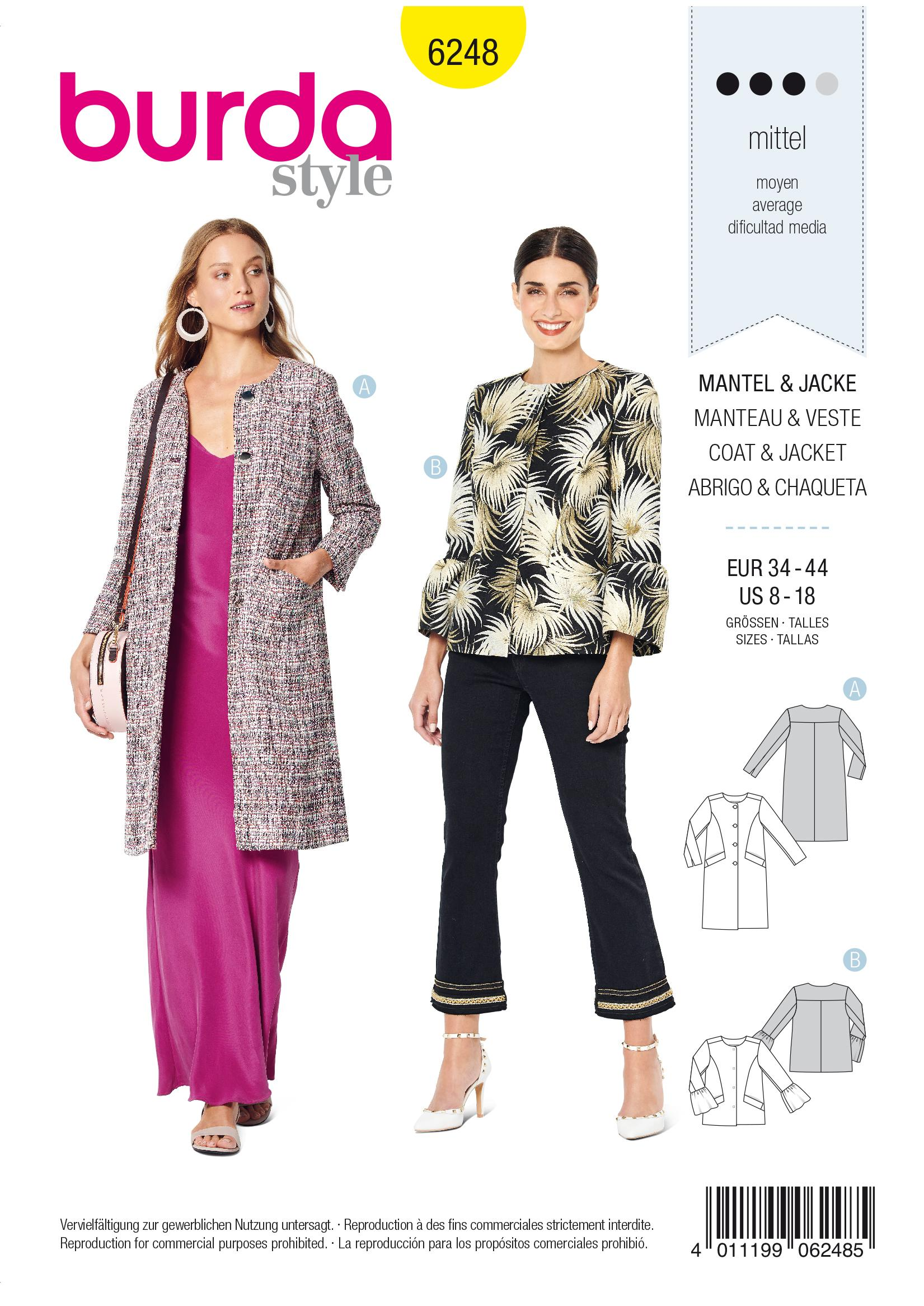 Burda B6248 Women's Coat Sewing Pattern