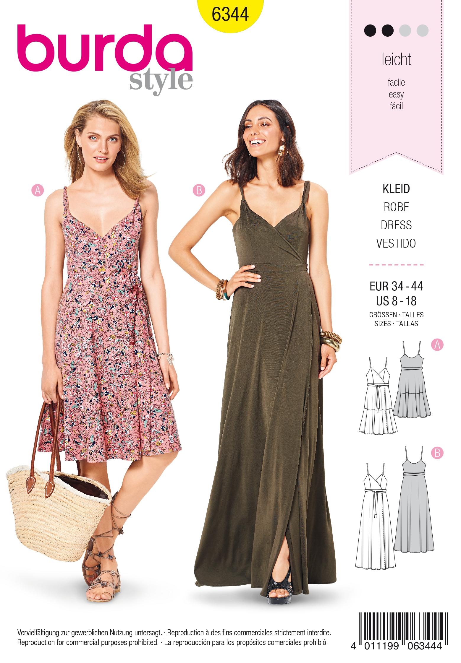 Burda 6344 Misses' wrap dress