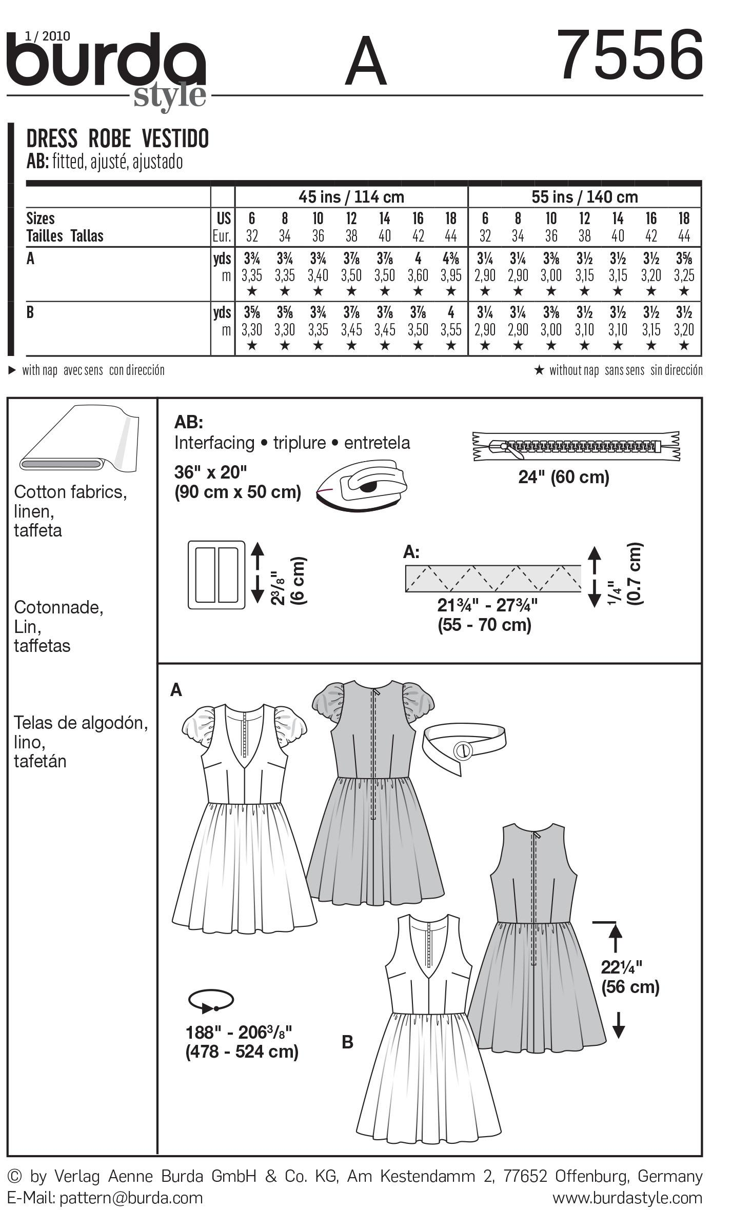 Burda B7556 Dress Sewing Pattern