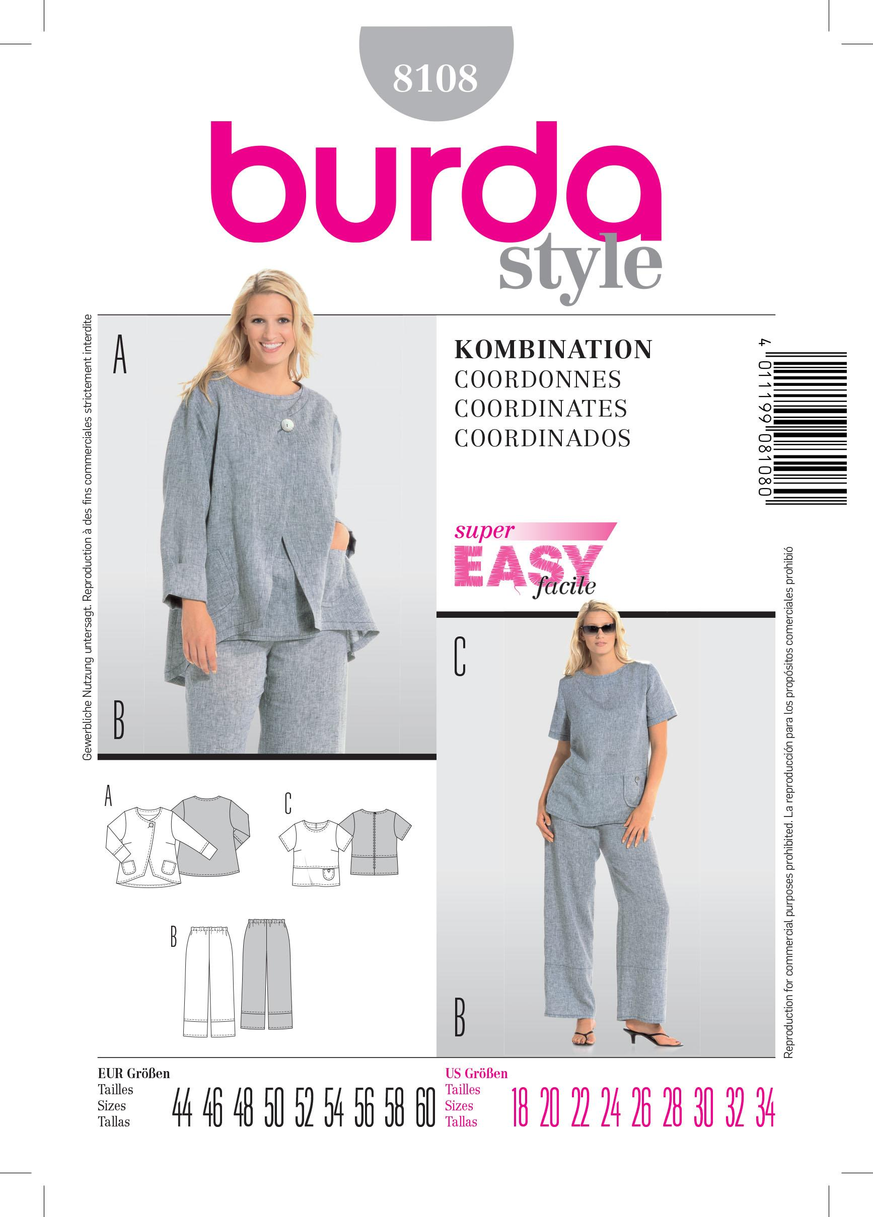 Burda B8108 Coordinates Sewing Pattern