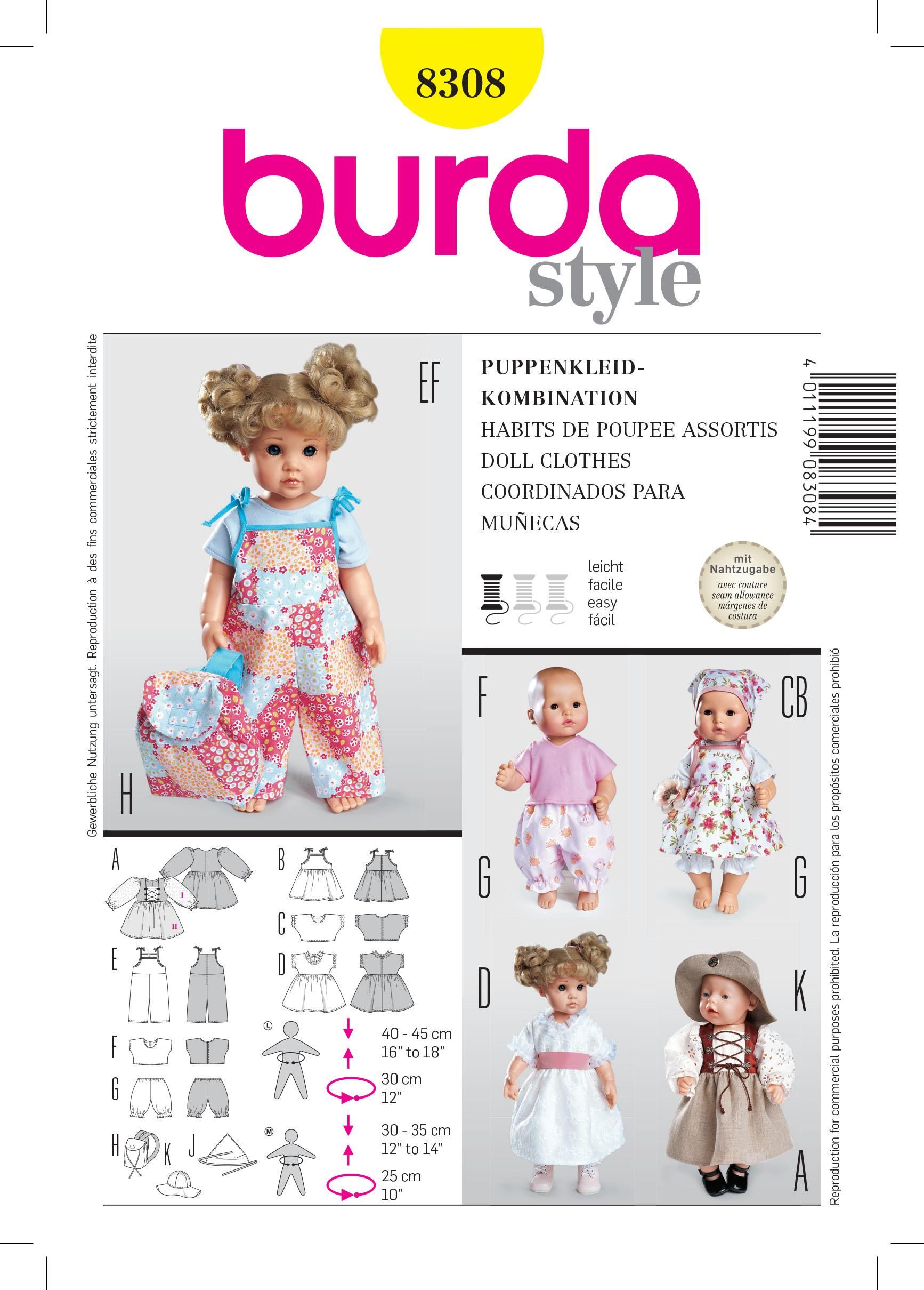 Burda B8308 Doll Clothes Sewing Pattern