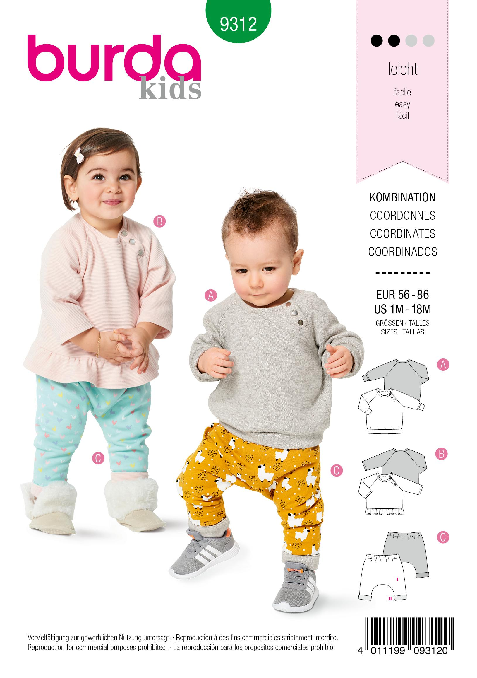 Burda 9312 Babies' Coordinates, Pull-On Top and Pants