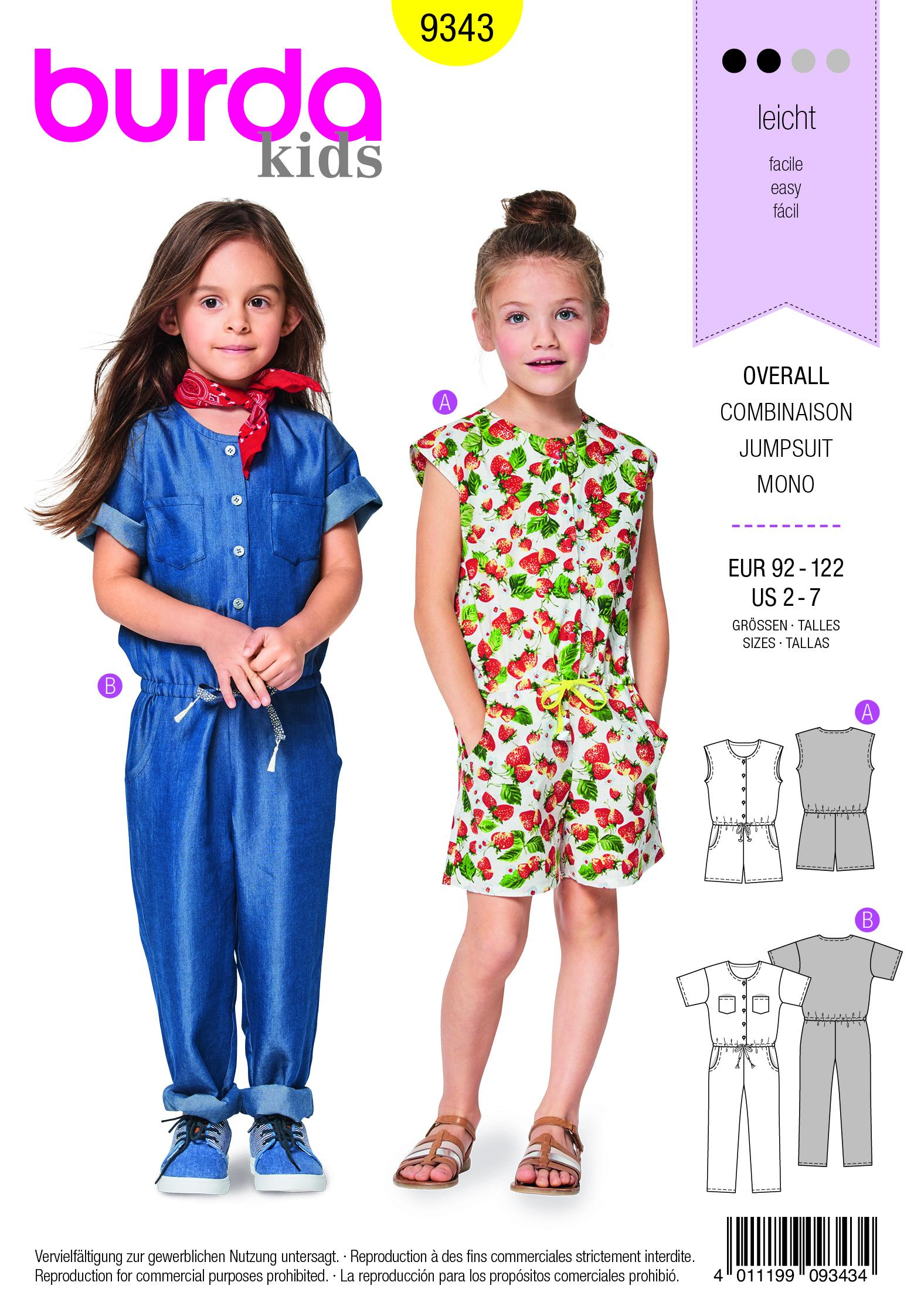 Burda B9343 Child's Drop Waist Jumpsuit