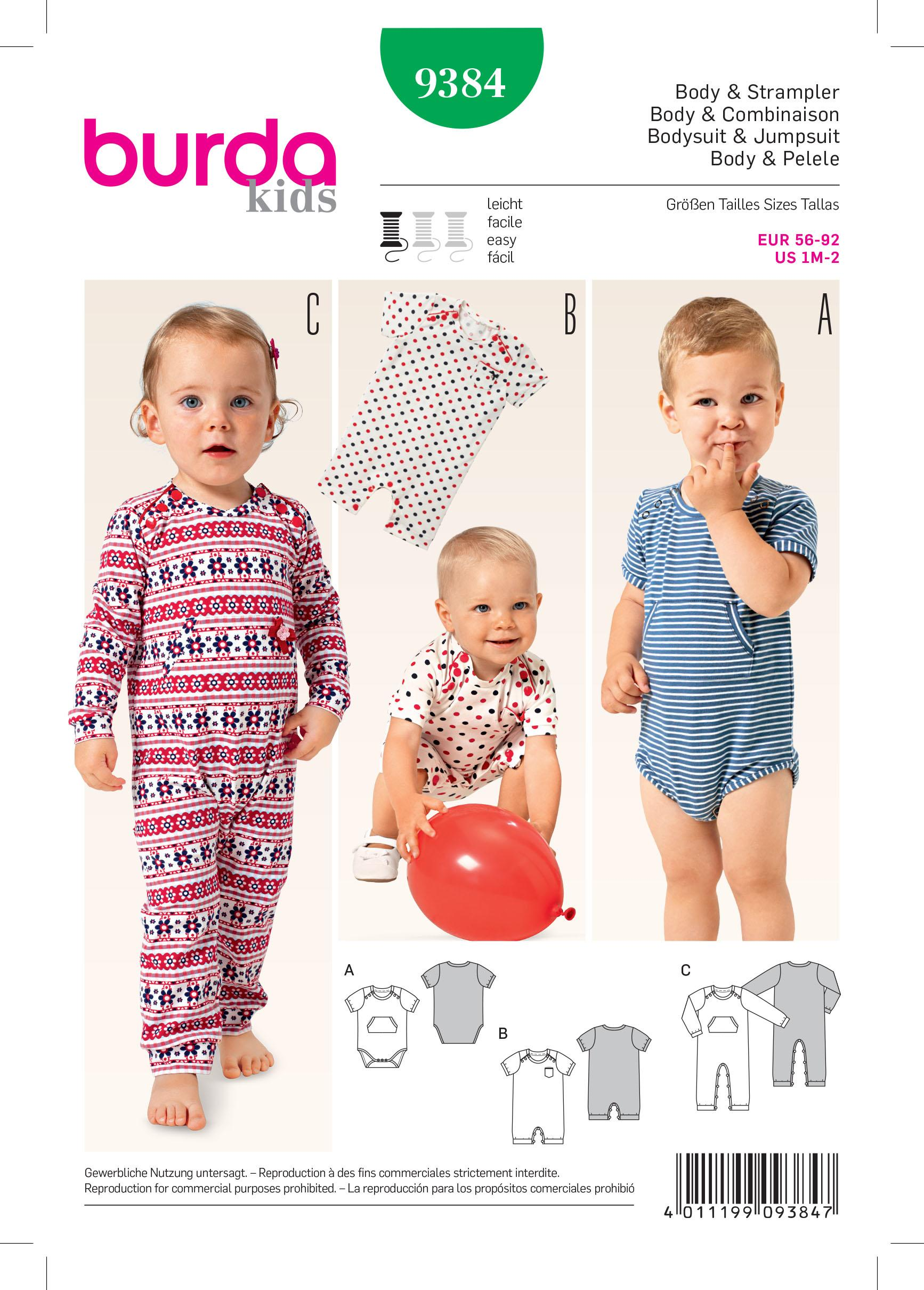 Burda B9384 Babie's Bodysuit and Rompers Sewing Pattern
