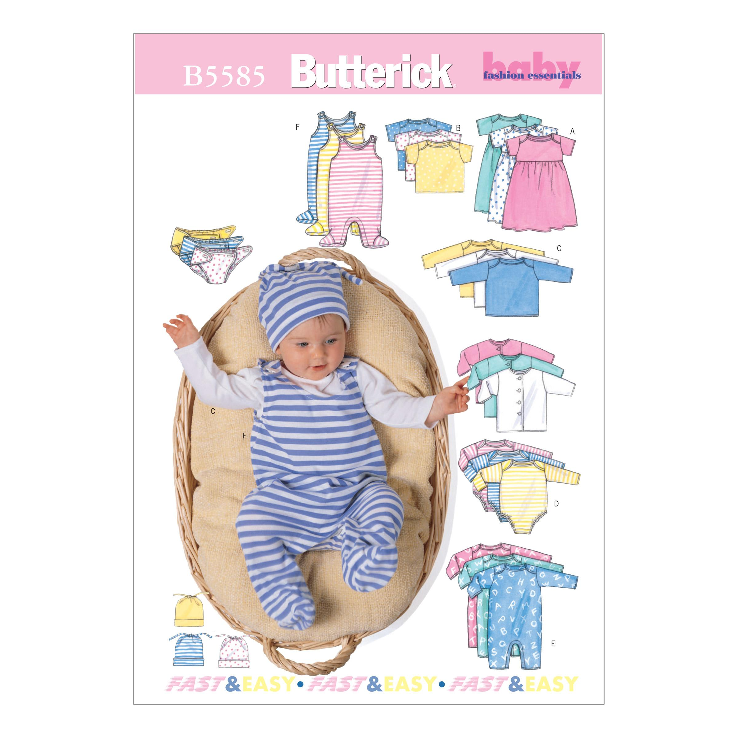 Butterick B5585 Infants' Jacket, Dress, Top, Romper, Diaper Cover and Hat