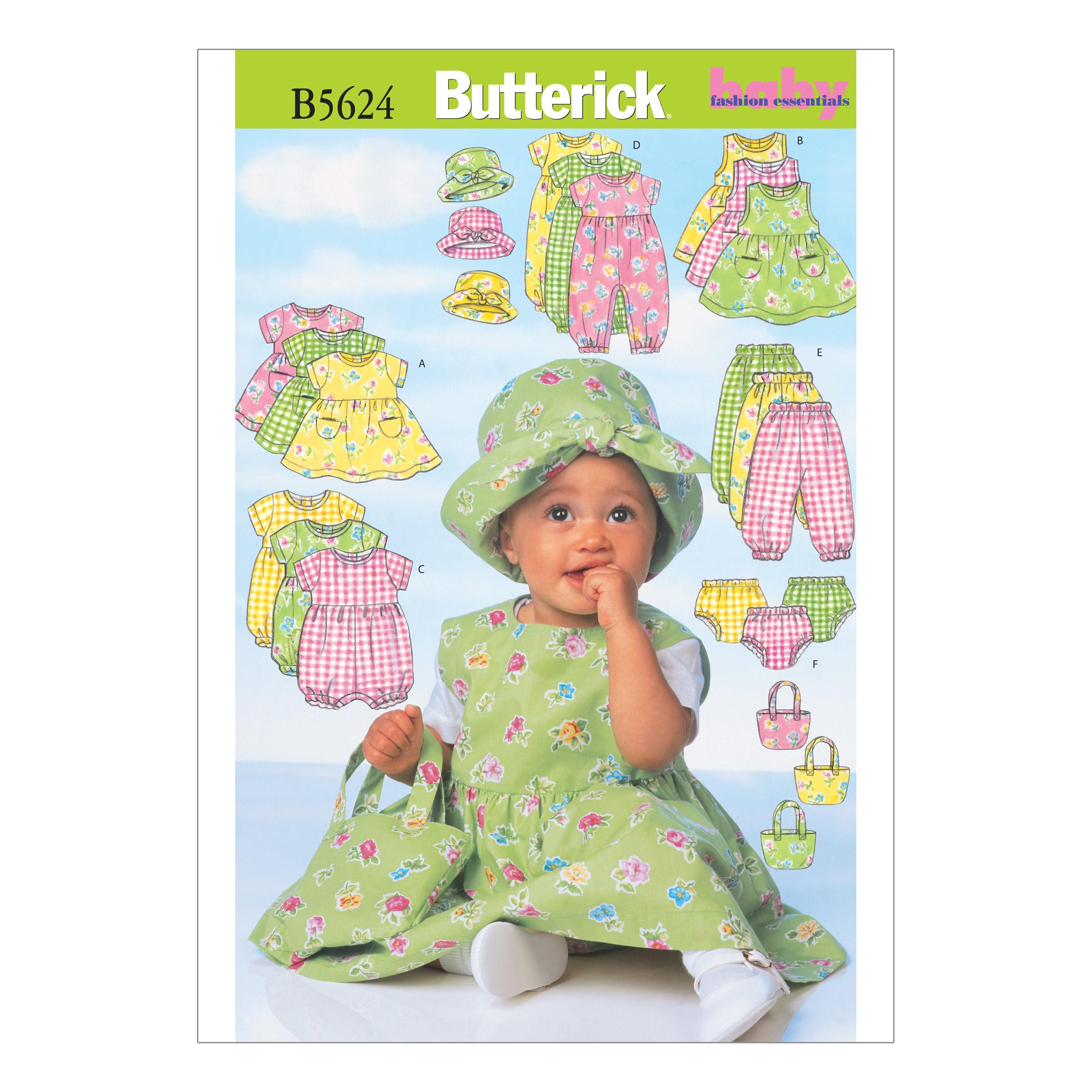 Butterick B5624 Infants' Dress, Pinafore, Romper, Jumpsuit, Panties, Hat and Bag