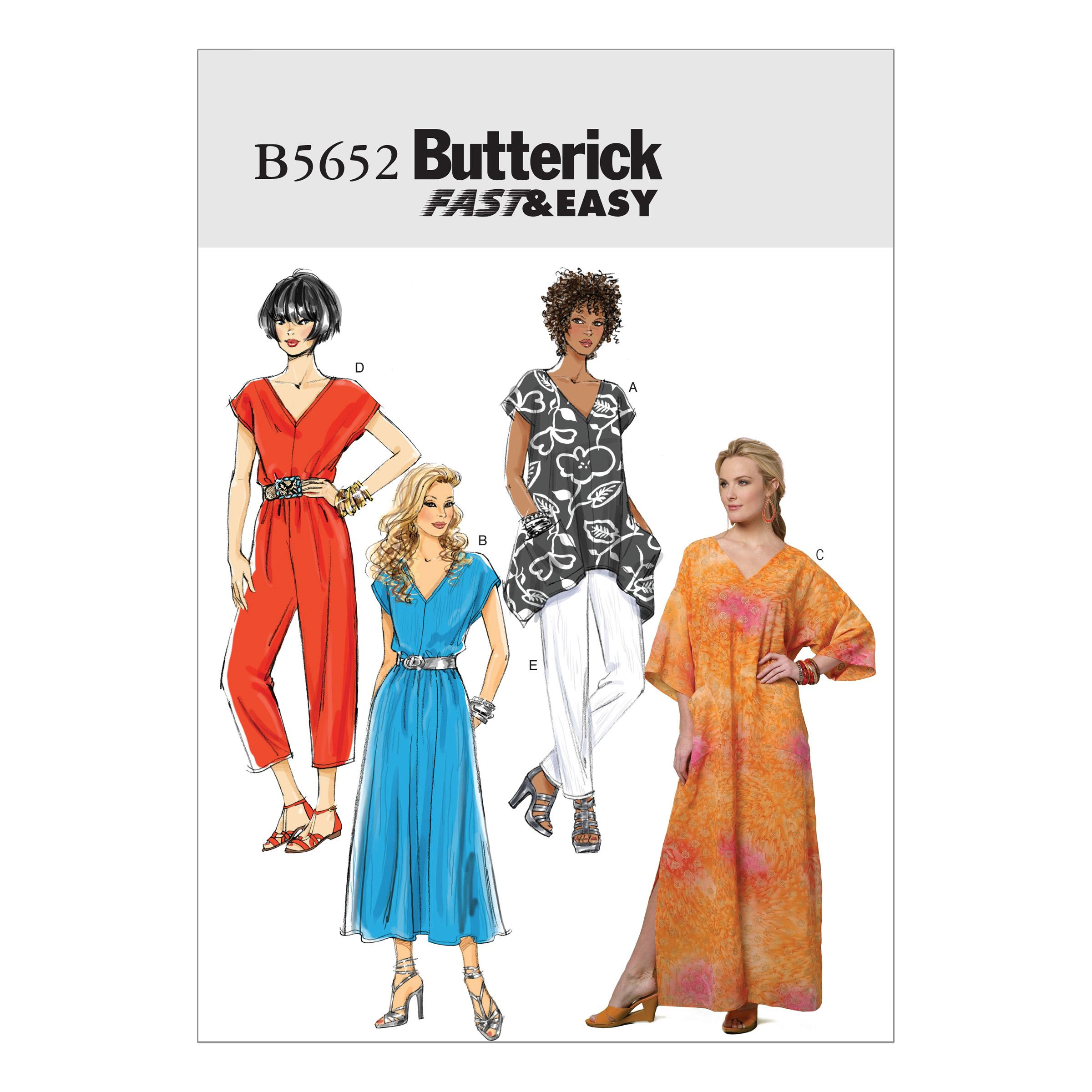Butterick B5652 Misses' Top, Dress, Caftan, Jumpsuit and Pants
