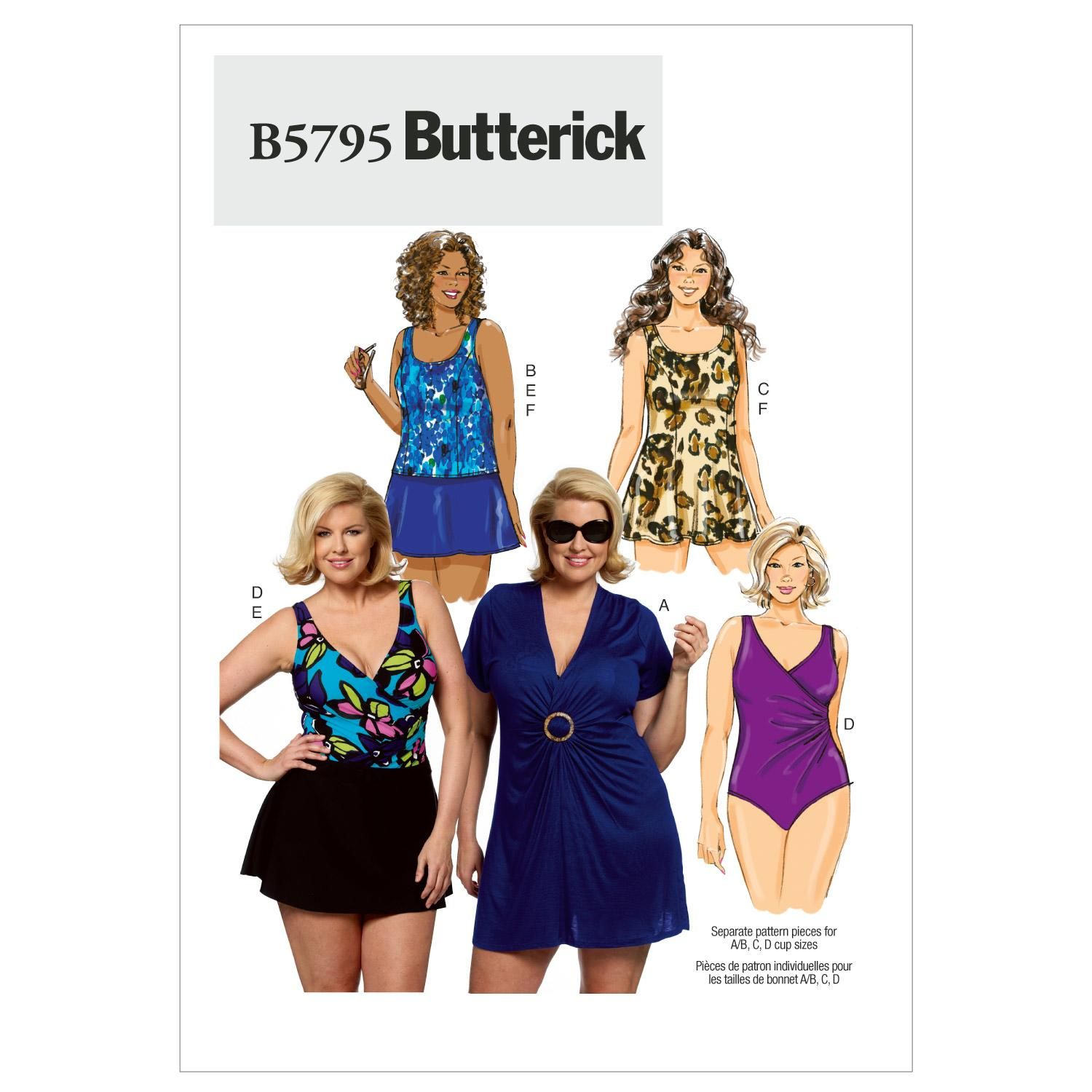 Butterick B5795 Women's Cover-Up, Top, Swimdress, Swimsuit, Skirt and Briefs