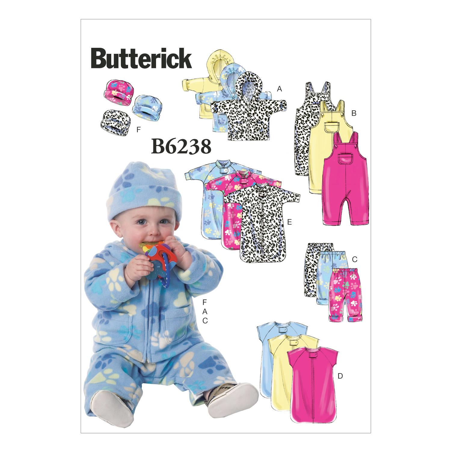 Butterick B6238 Infants' Jacket, Overalls, Pants, Bunting and Hat