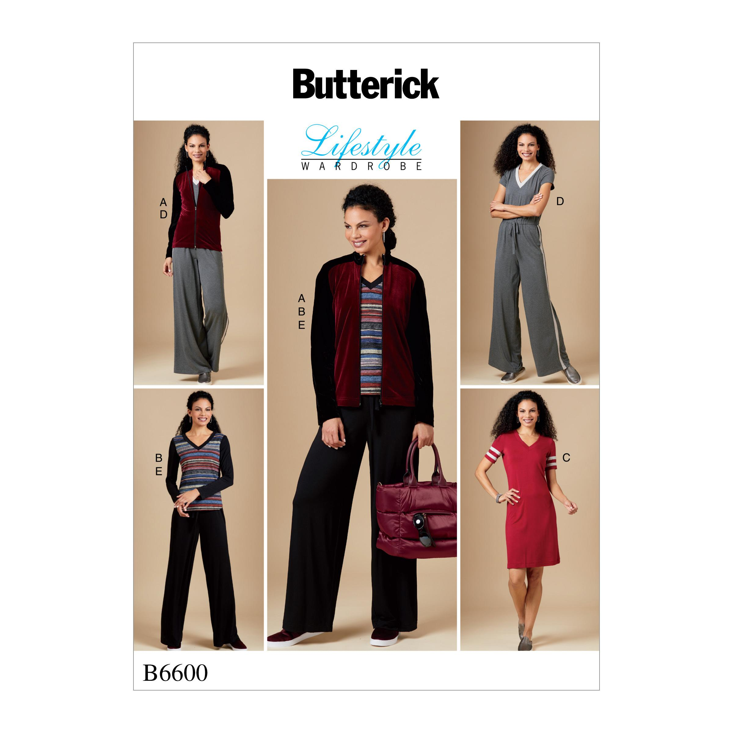 Butterick B6600 Misses' Jacket, Top, Dress, Jumpsuit and Pants