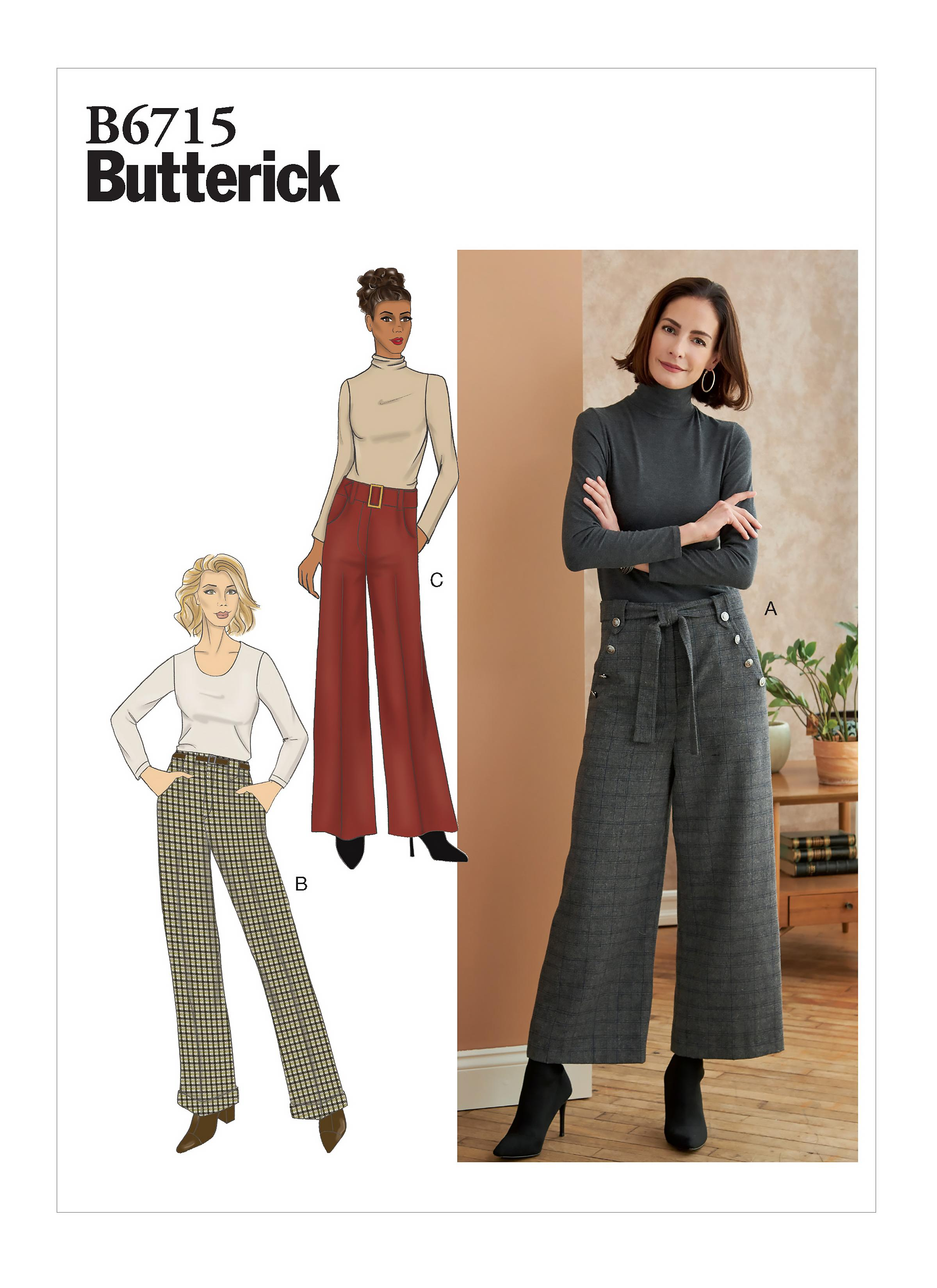 Butterick B6715 Misses'/Misses' Petite Pants, Sash & Belt